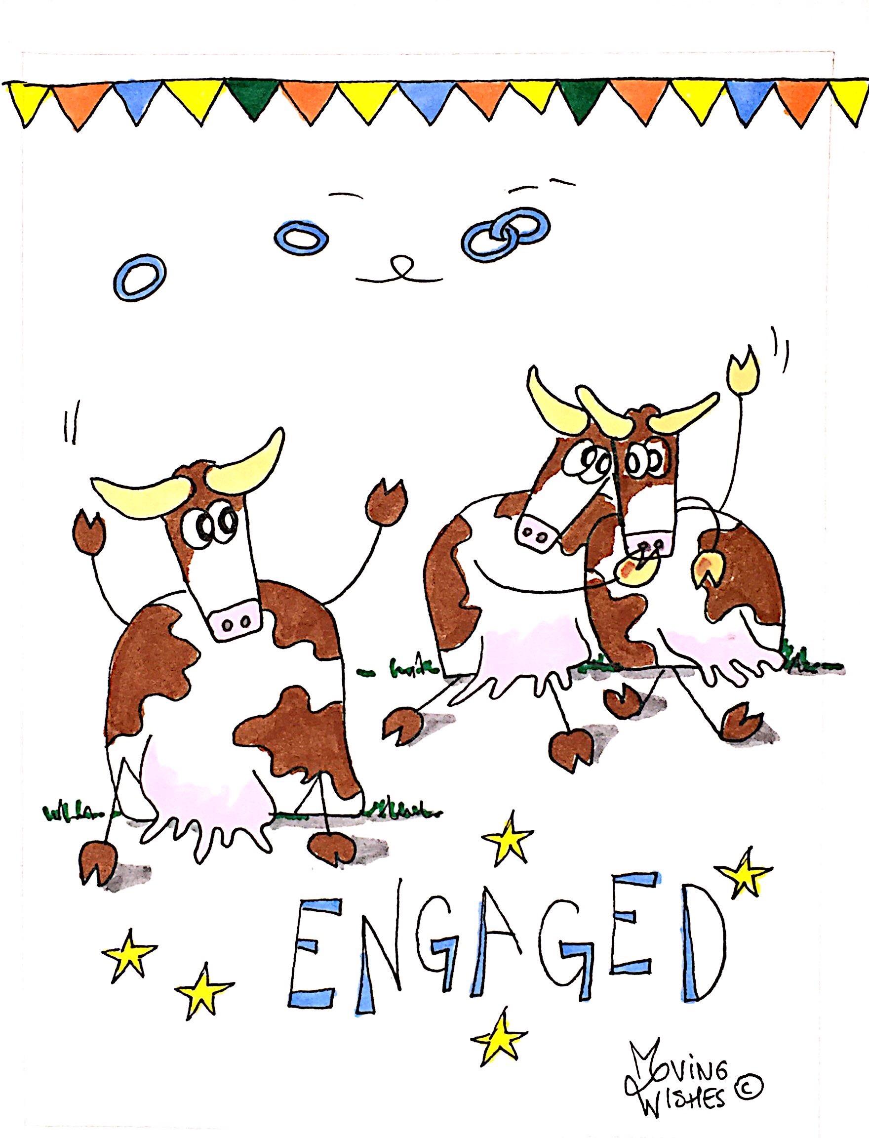Verlovingskaart met twee koeien