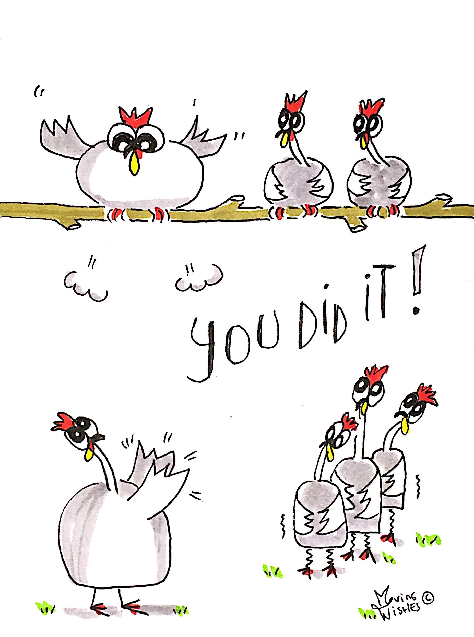 Wenskaart knappe kippen