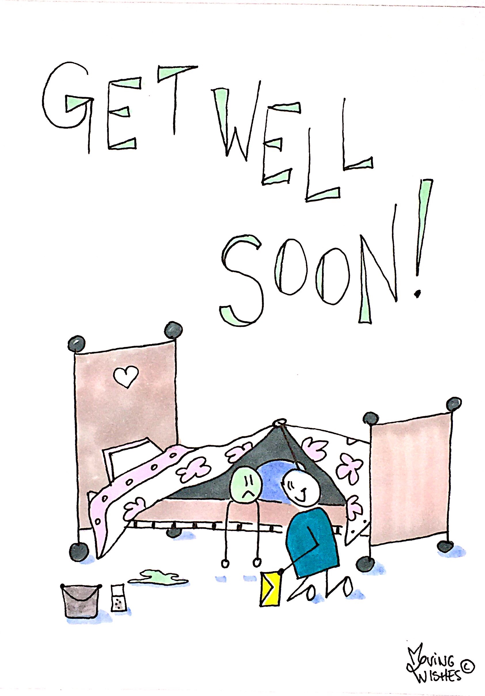 Wenskaart zieke in bed