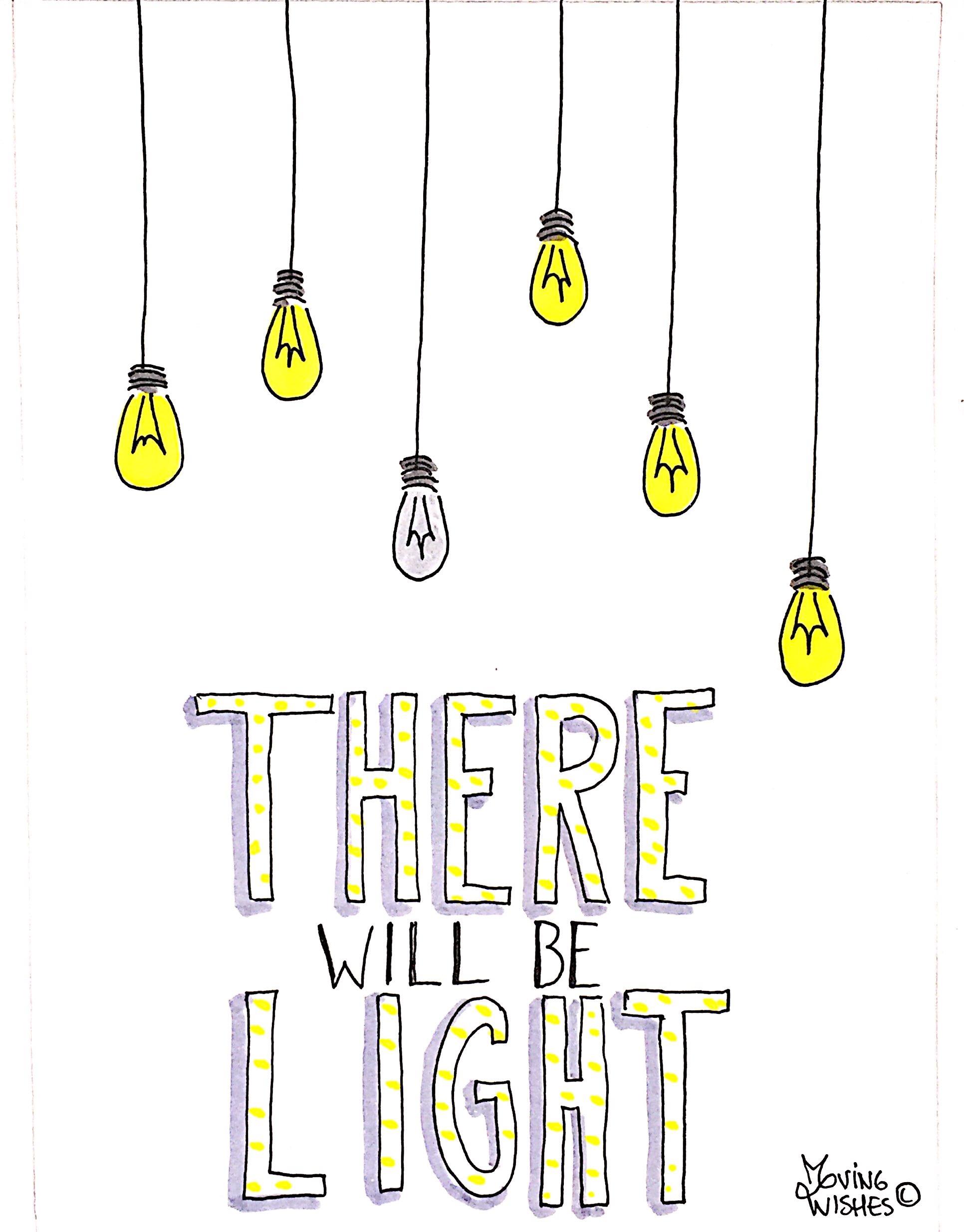Wenskaart  met lampen.