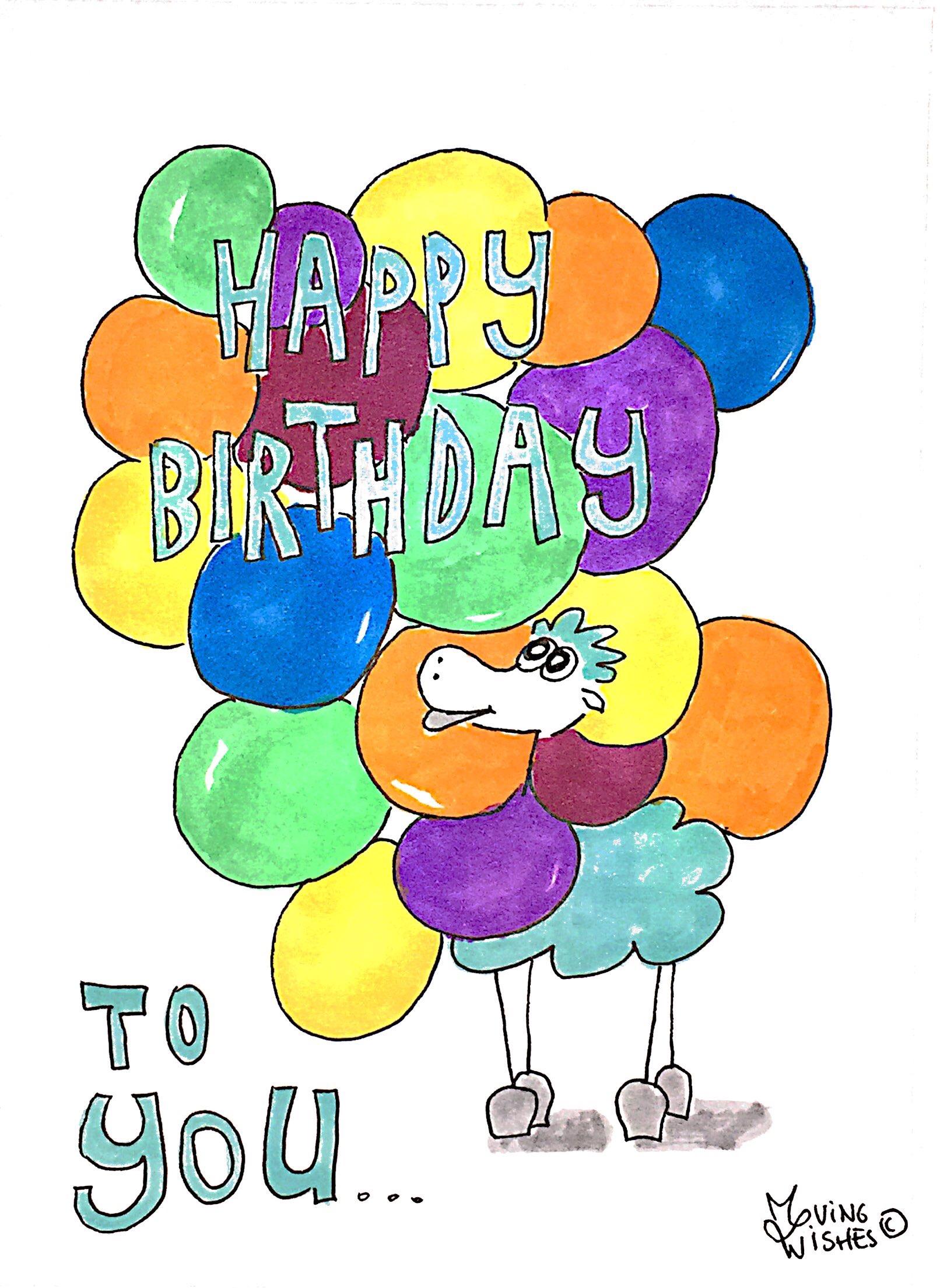 Verjaardagskaart schaap met balonnen