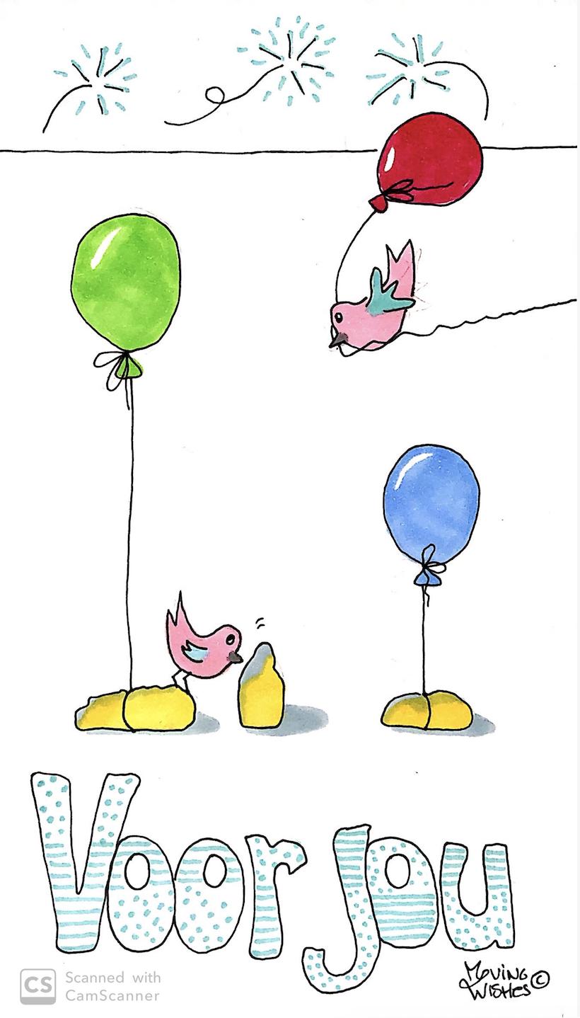 Felicitatie kaart vogel en ballonnen