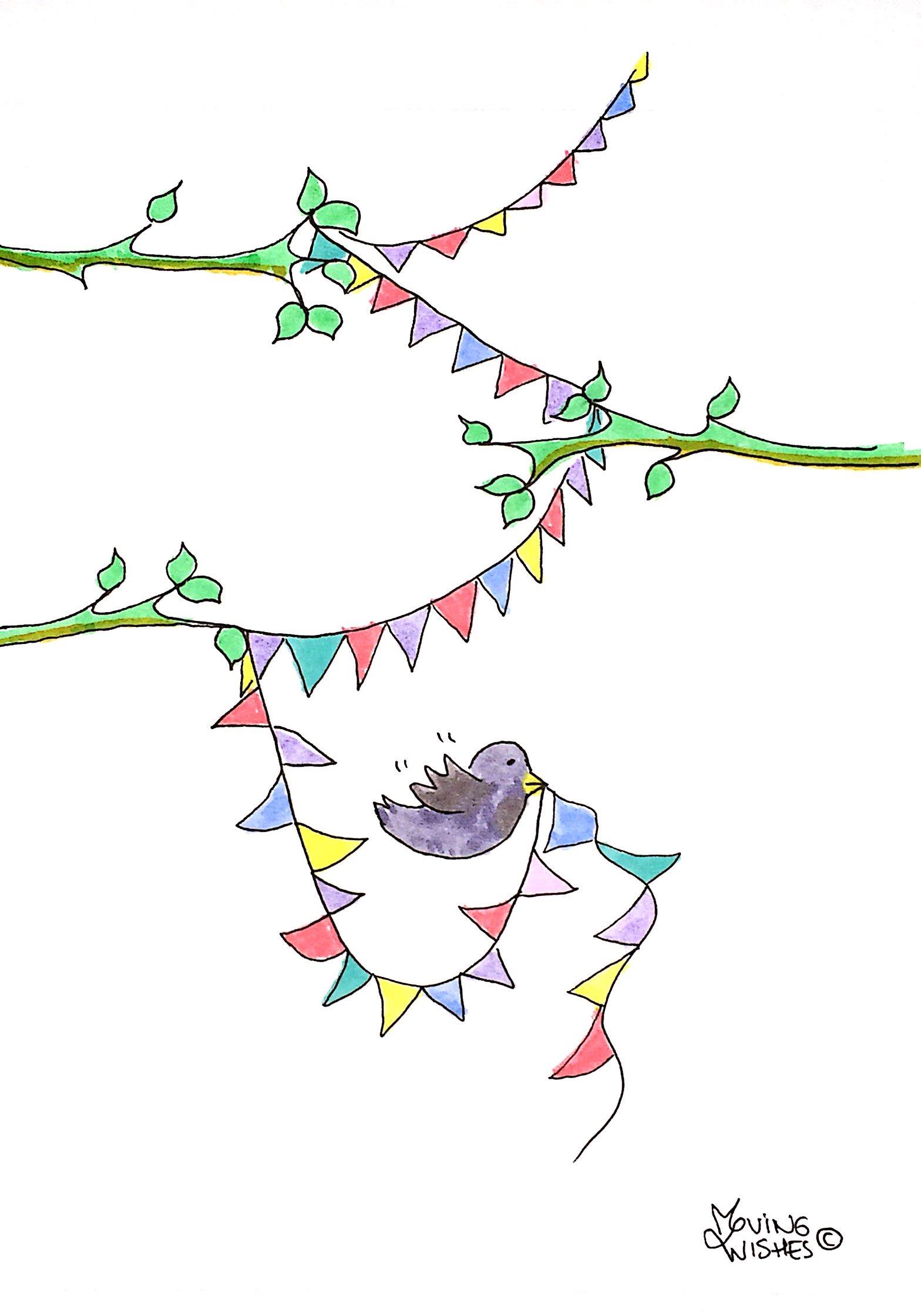 Felicitatie kaart vogel met slinger