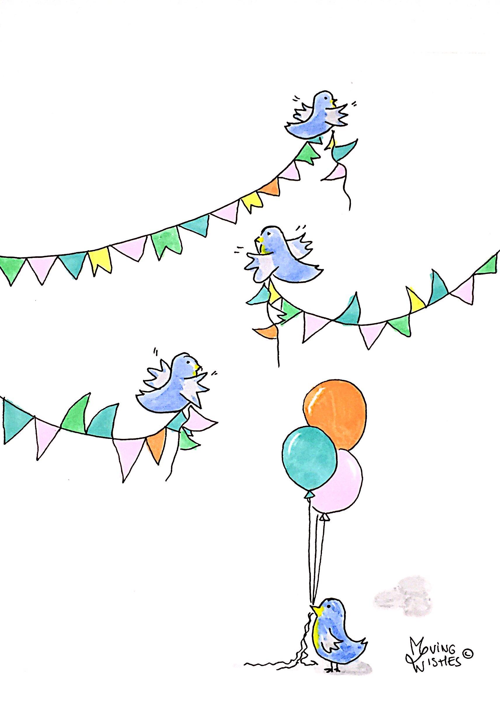 Felicitatie kaart vogel met slinger en ballonnen