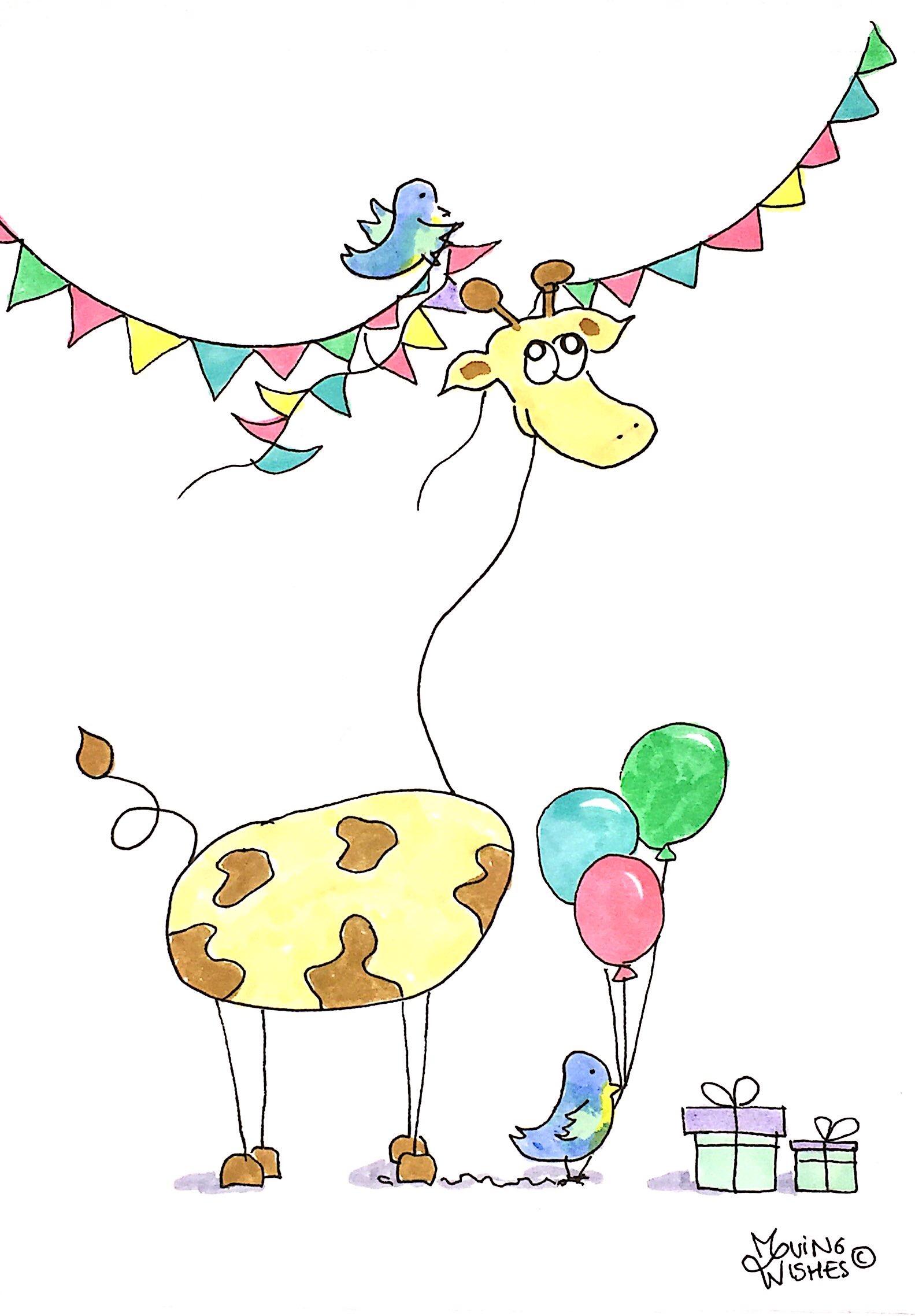 Verjaardagskaart giraffe, vogel en slinger