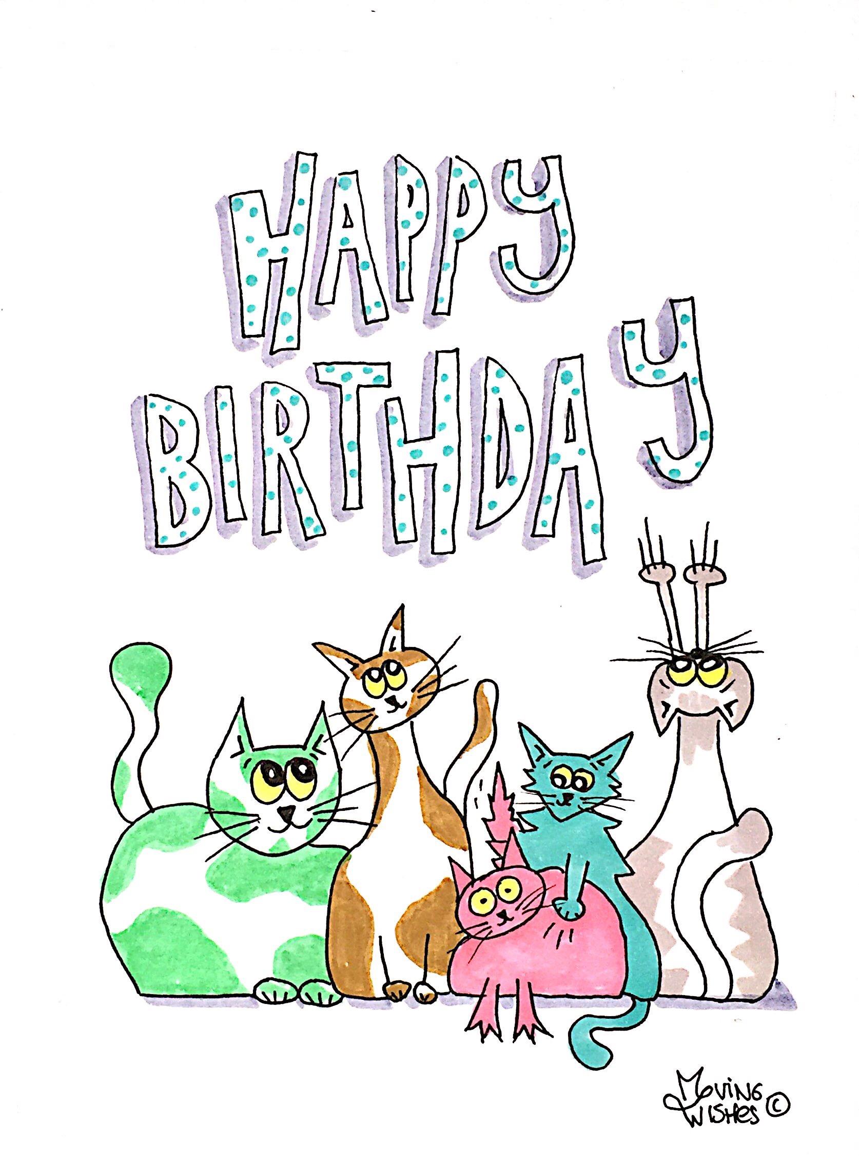 Verjaardagskaart gekleurde poezen