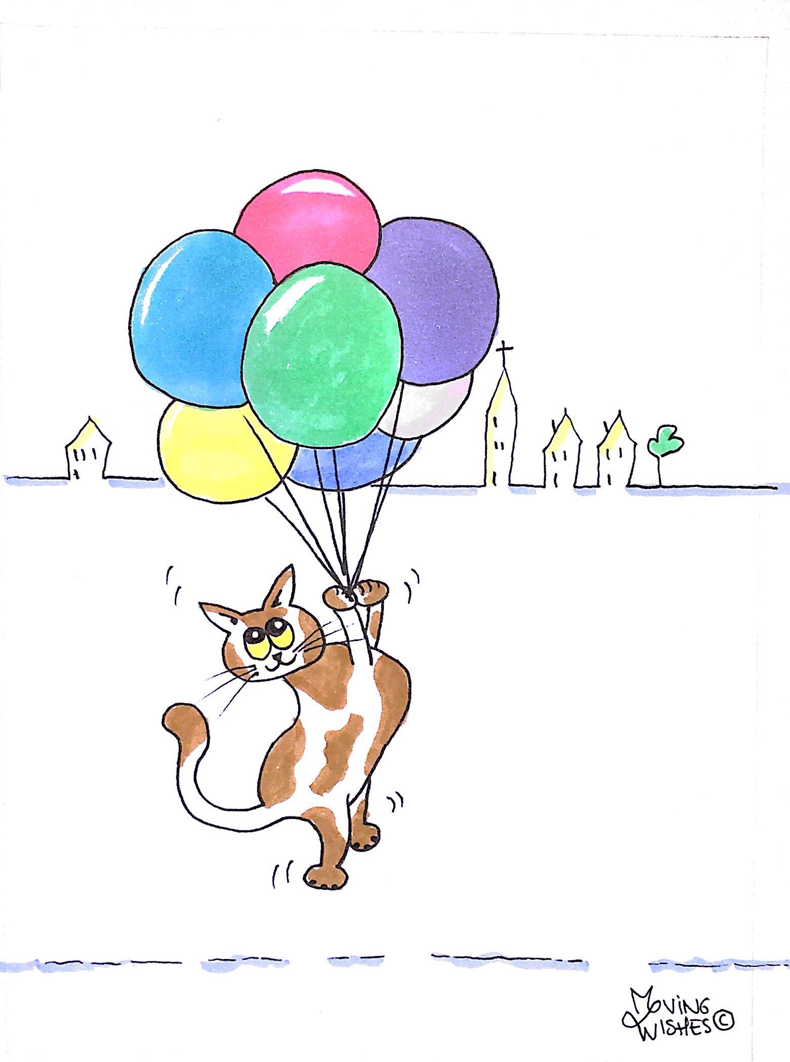 Felicitatie kaart kat met ballonnen