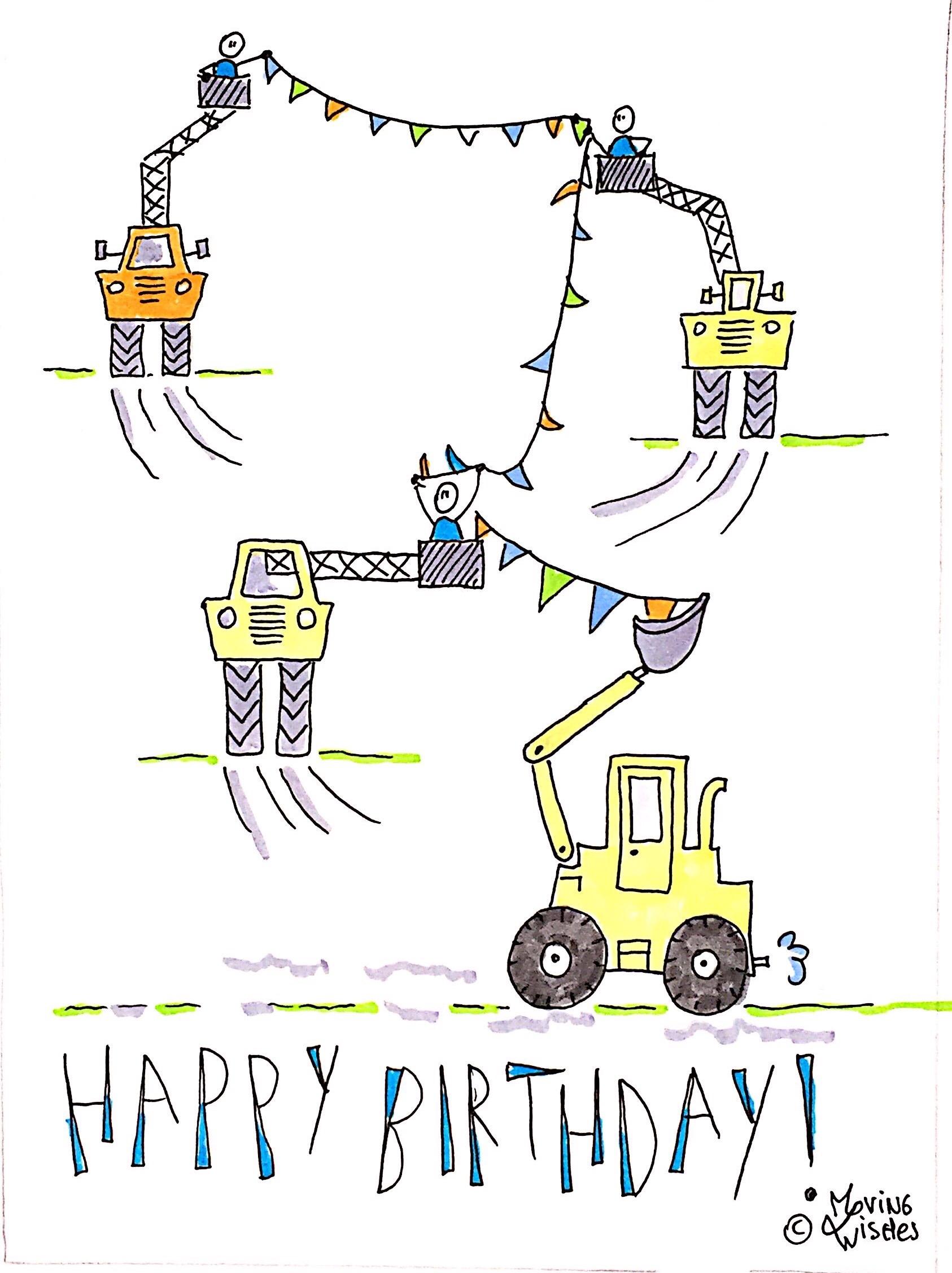 Verjaardagskaart bouwplaats met shovel