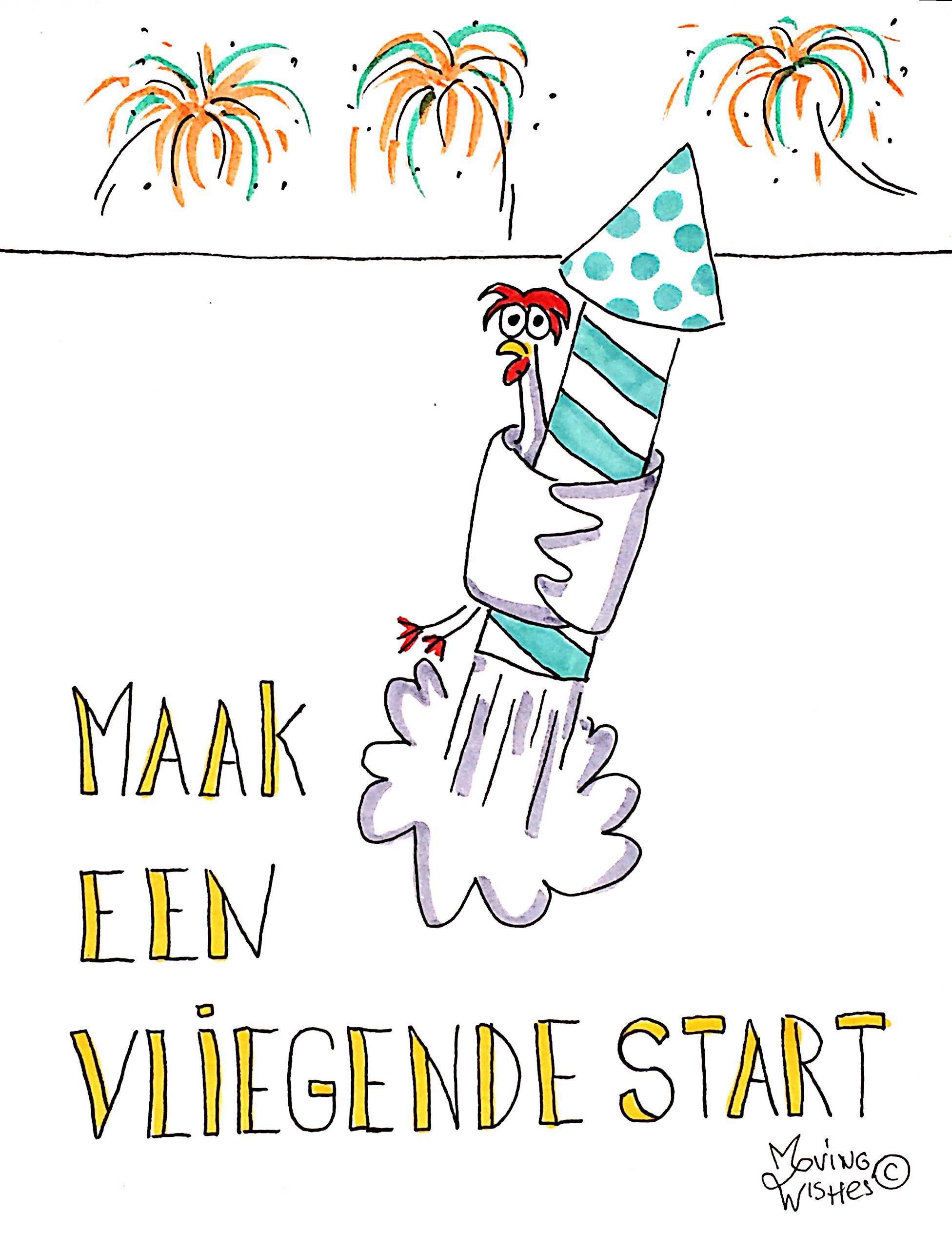 Nieuwjaarskaart kip met vuurpijl.