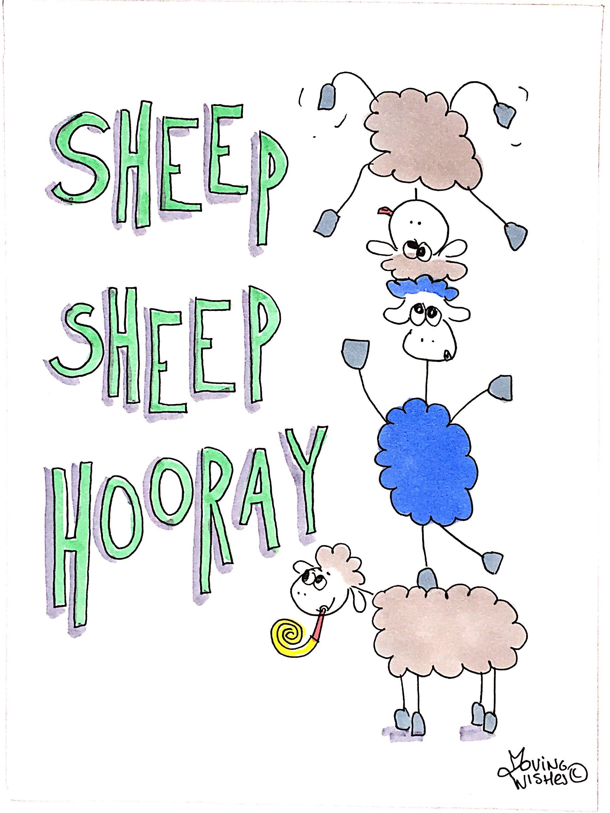 Verjaardagskaart feestende schapen
