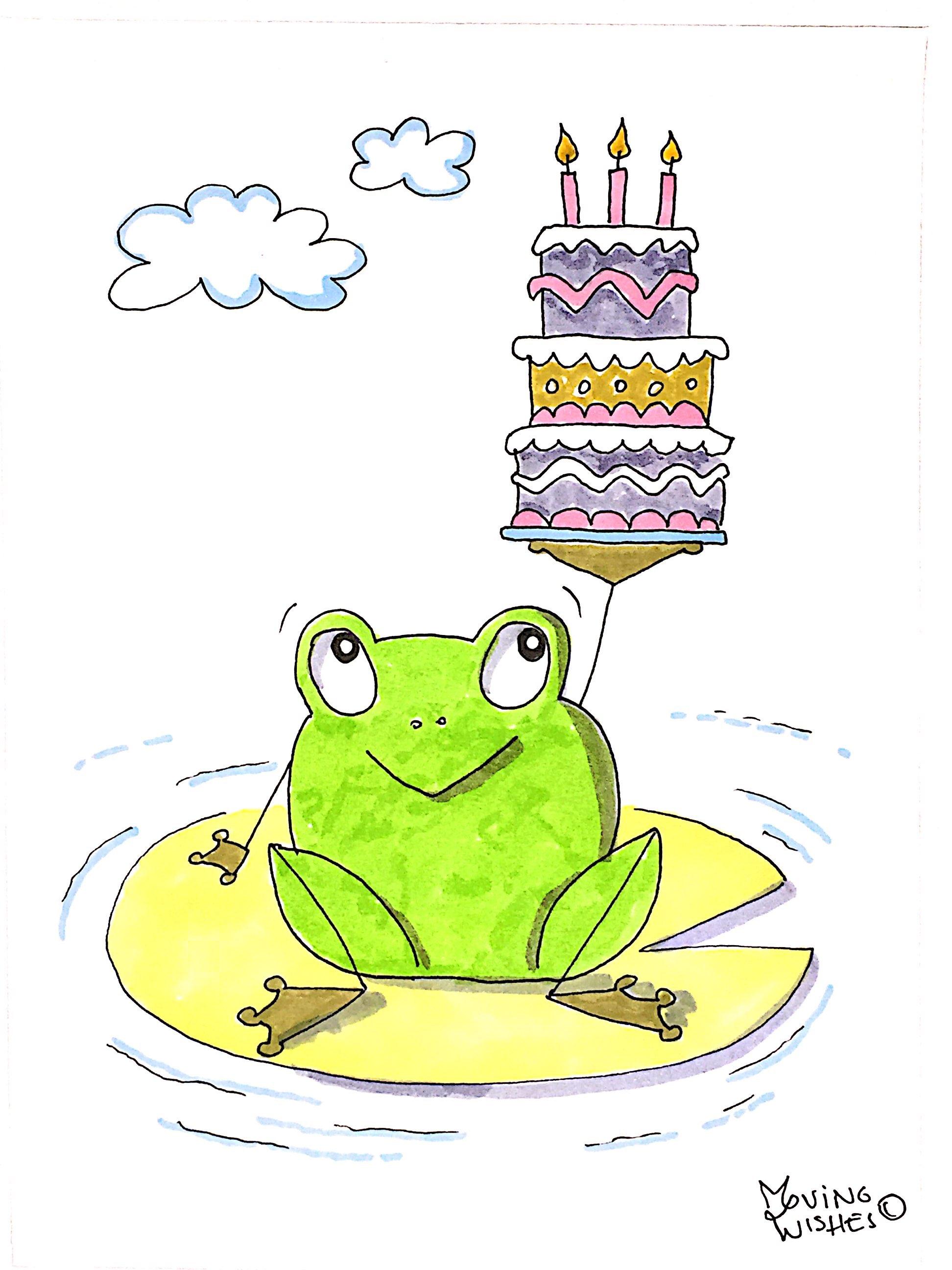 Verjaardagskaart kikker met taart
