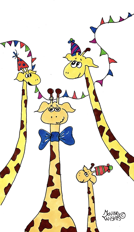 Verjaardagskaart giraffen met slinger