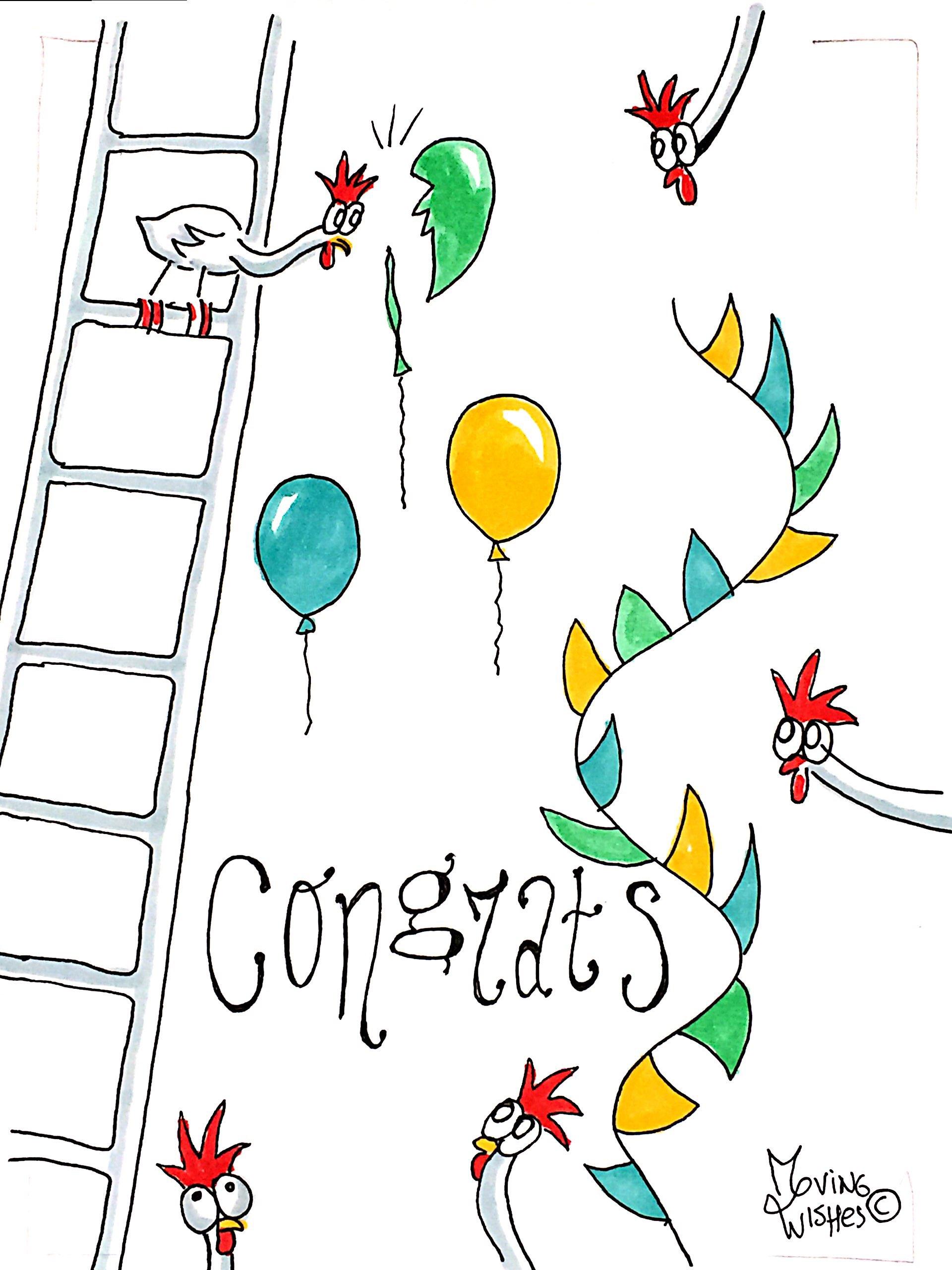 Felicitatiekaart kip op ladder