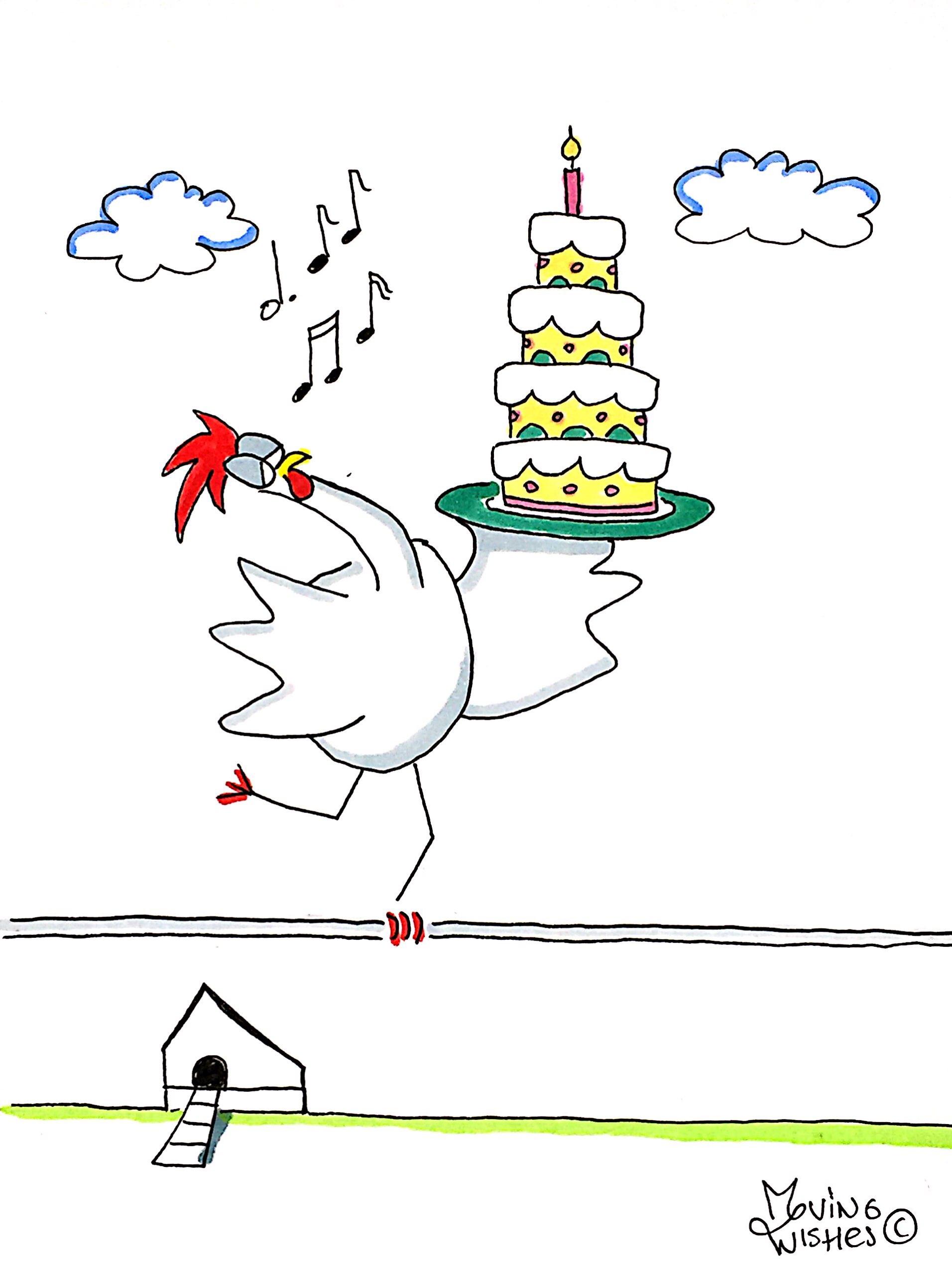 Verjaardagskaart balancerende kip