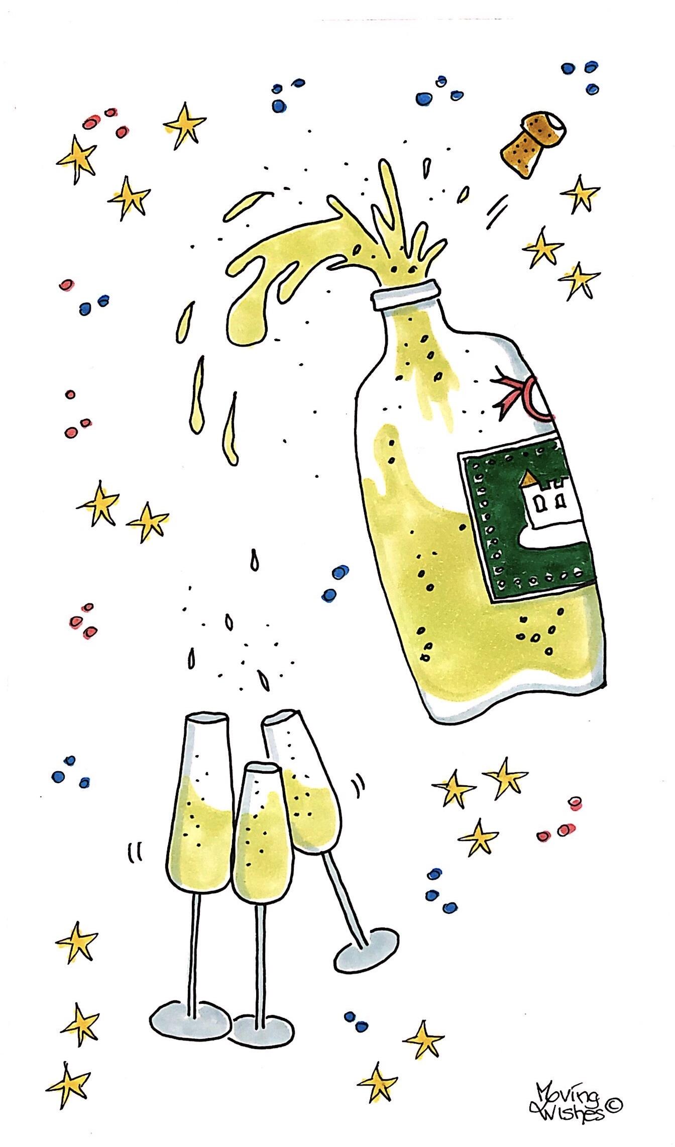 Felicitatie kaart fles met glazen