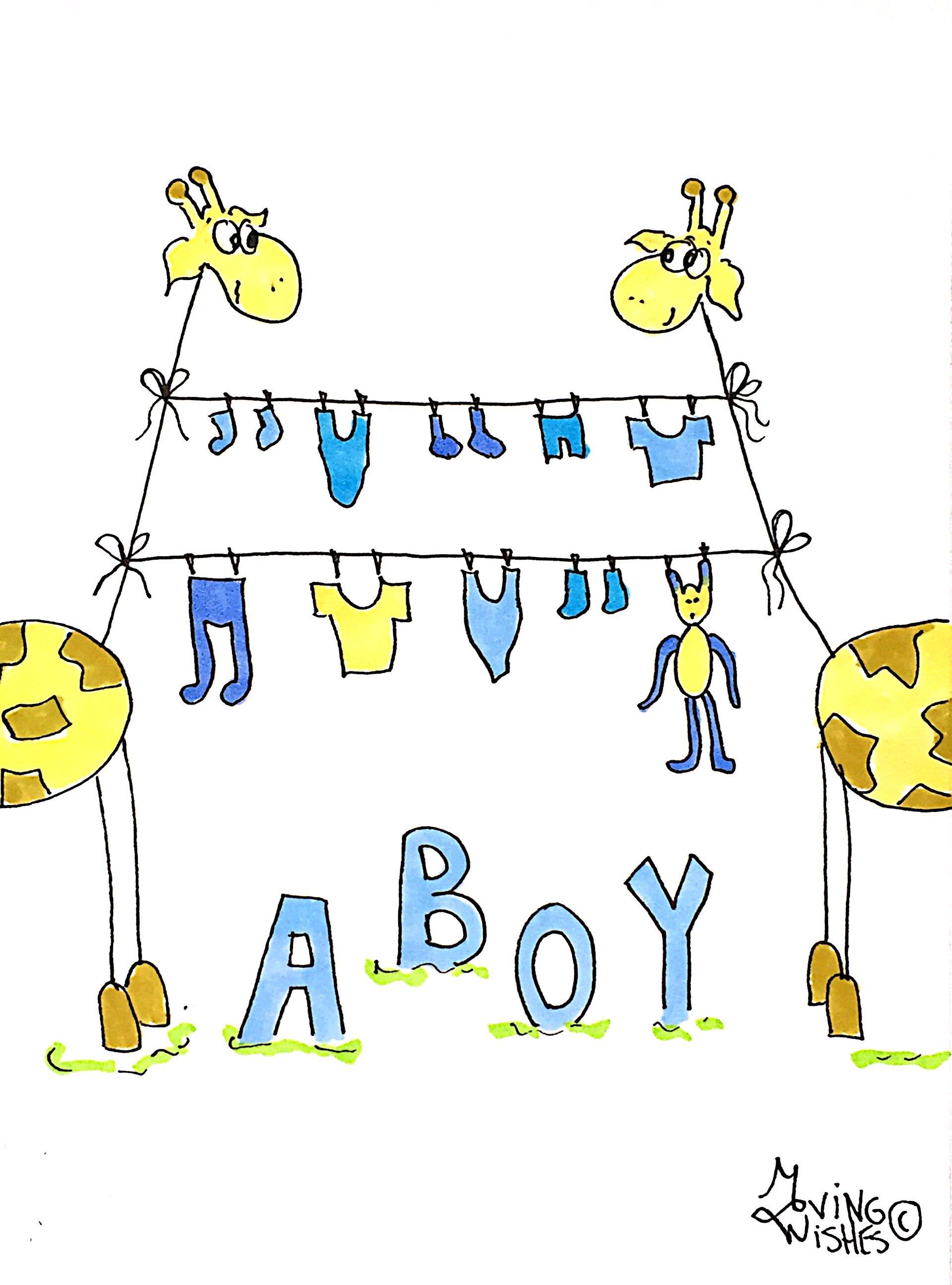 Geboortekaartje giraffen met blauwe was