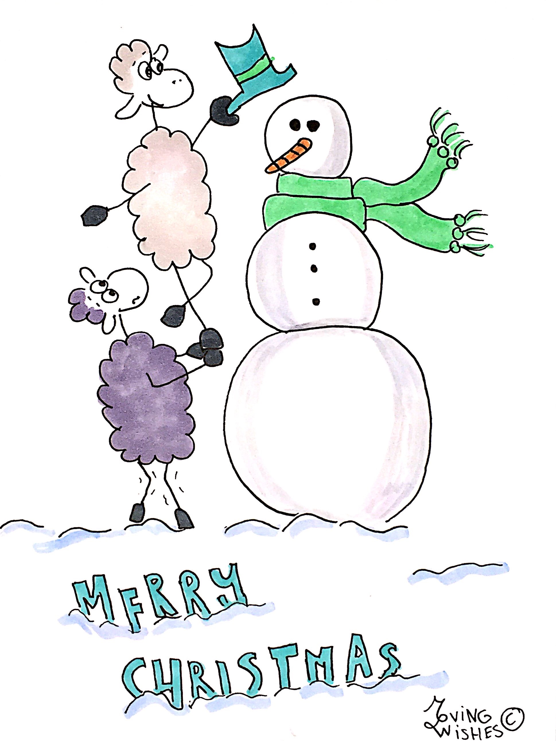 Kerstkaart schapen met sneeuwpop