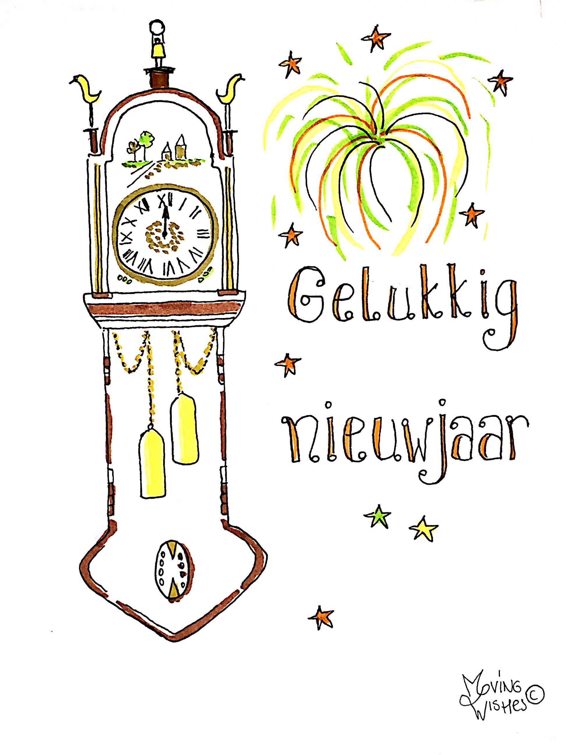 Nieuwjaarskaart klok middernacht.