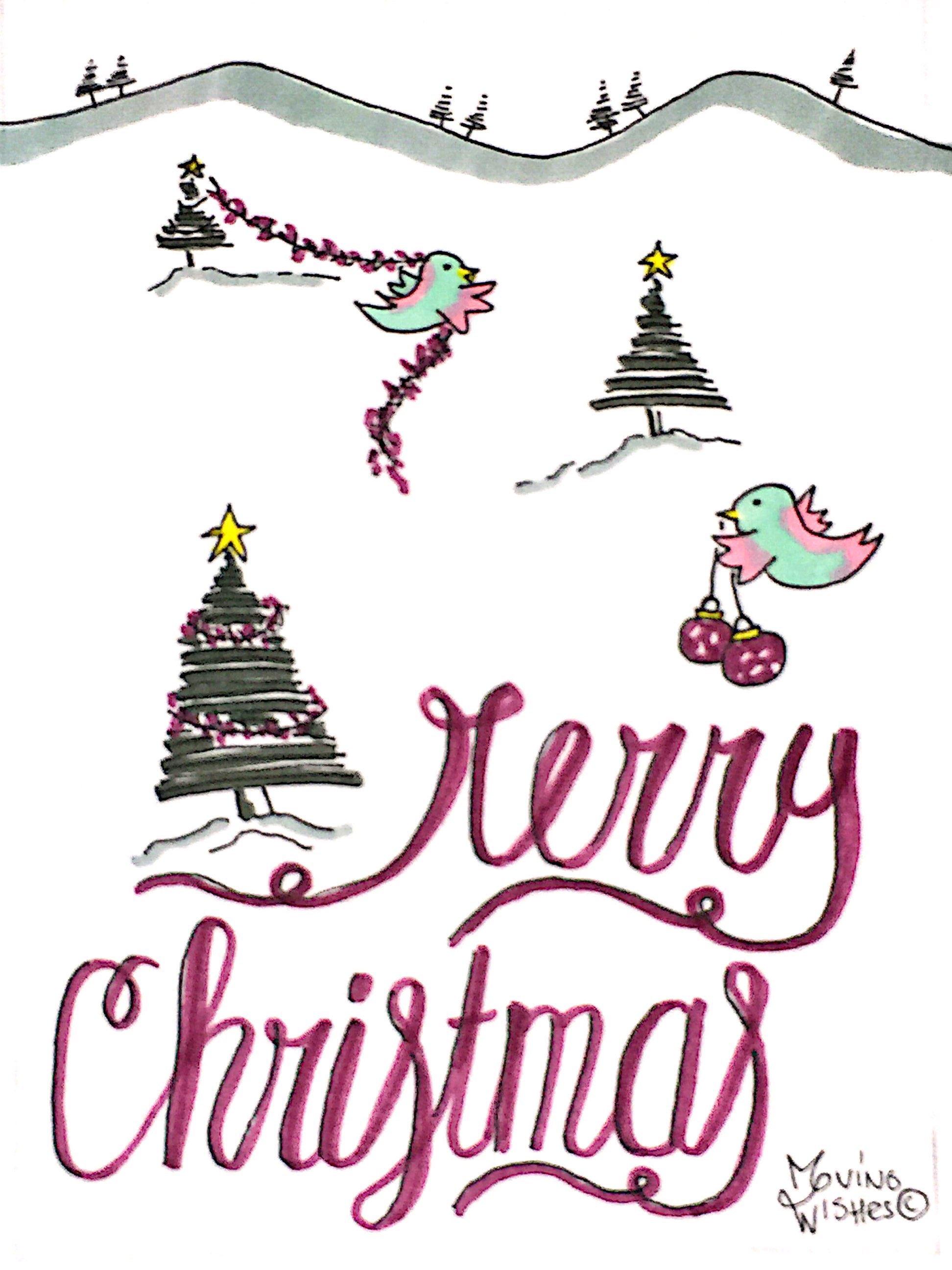 Kerstkaart kerstbomen met vogel