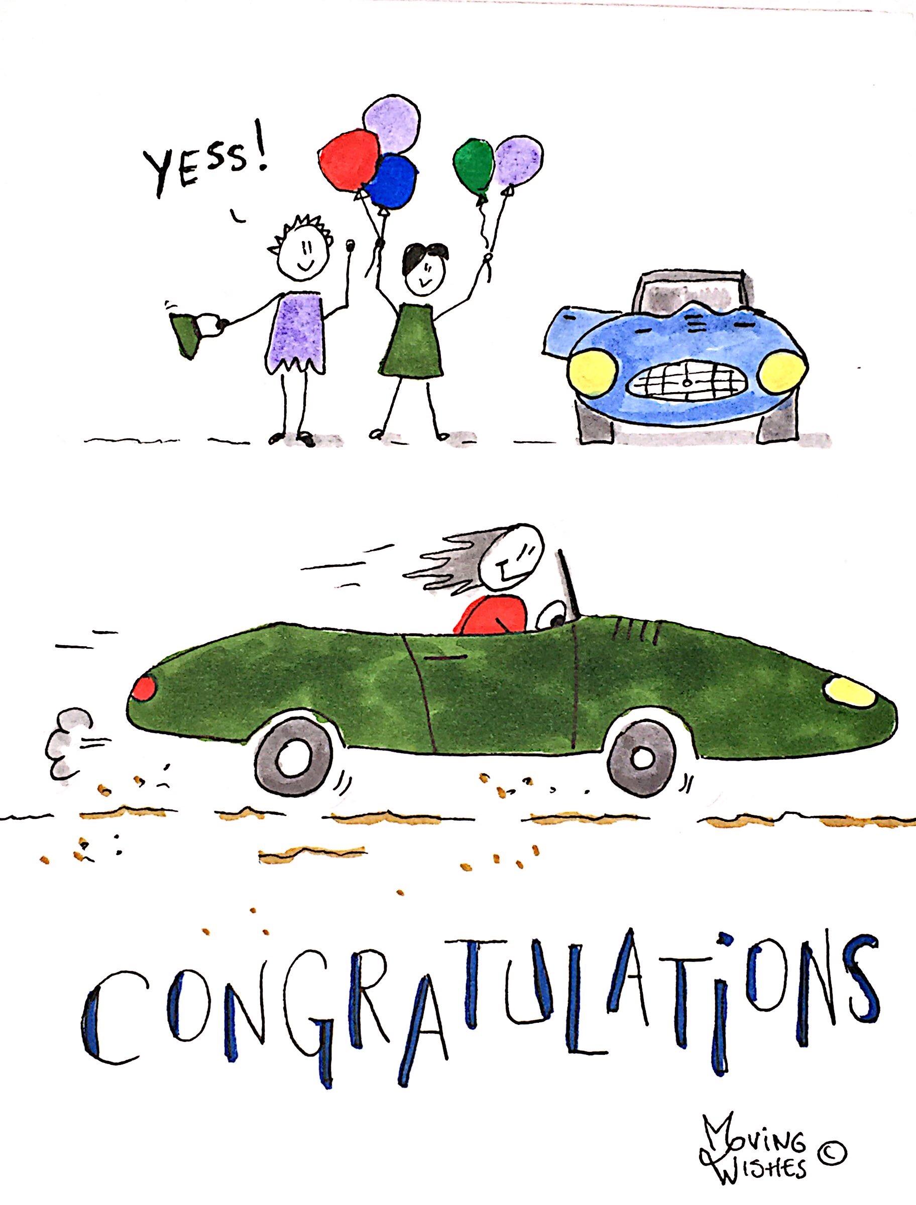 Felicitatie kaart sportauto