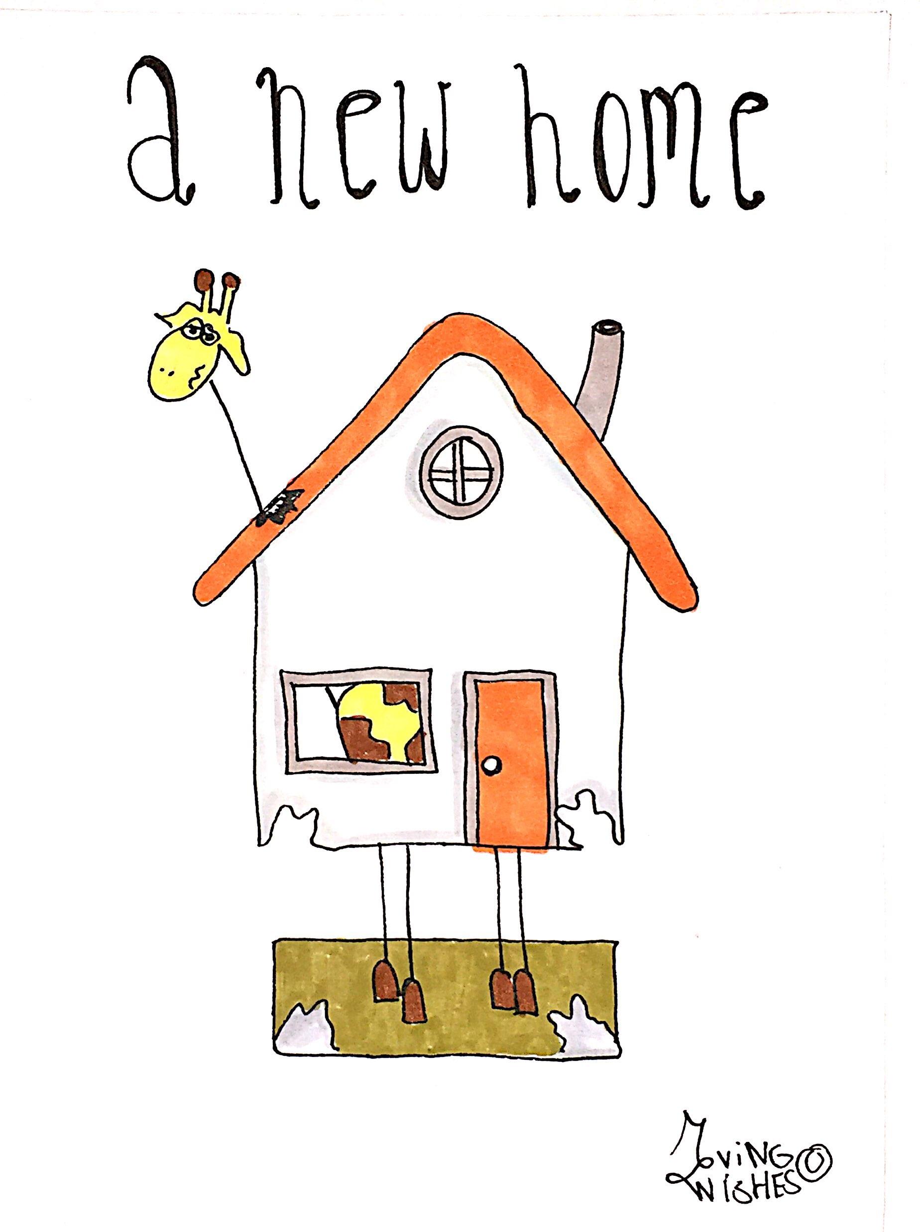 Felicitatie kaart giraffe in huis