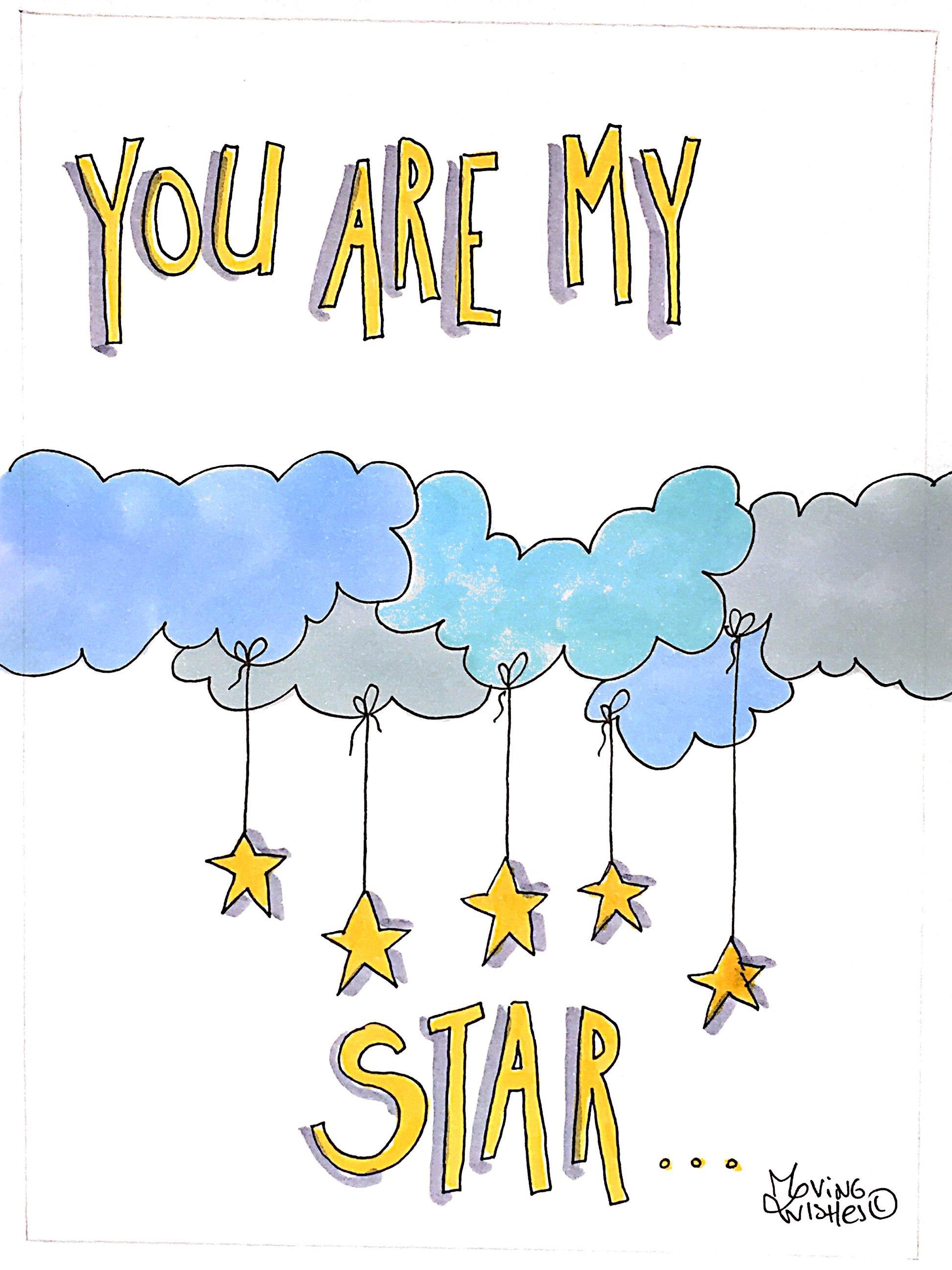 Wenskaart wolken met sterren