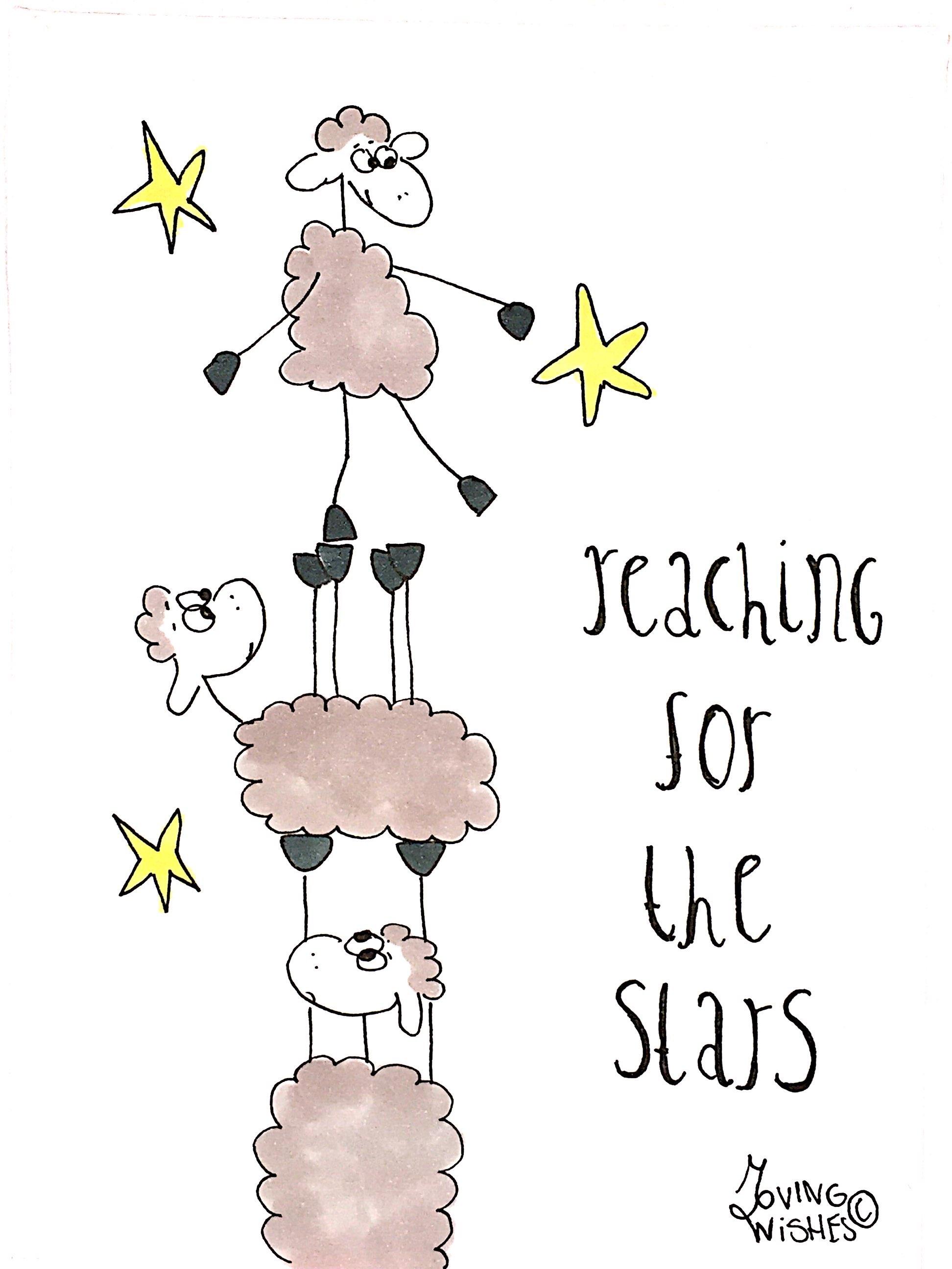 Wenskaart schapen en sterren