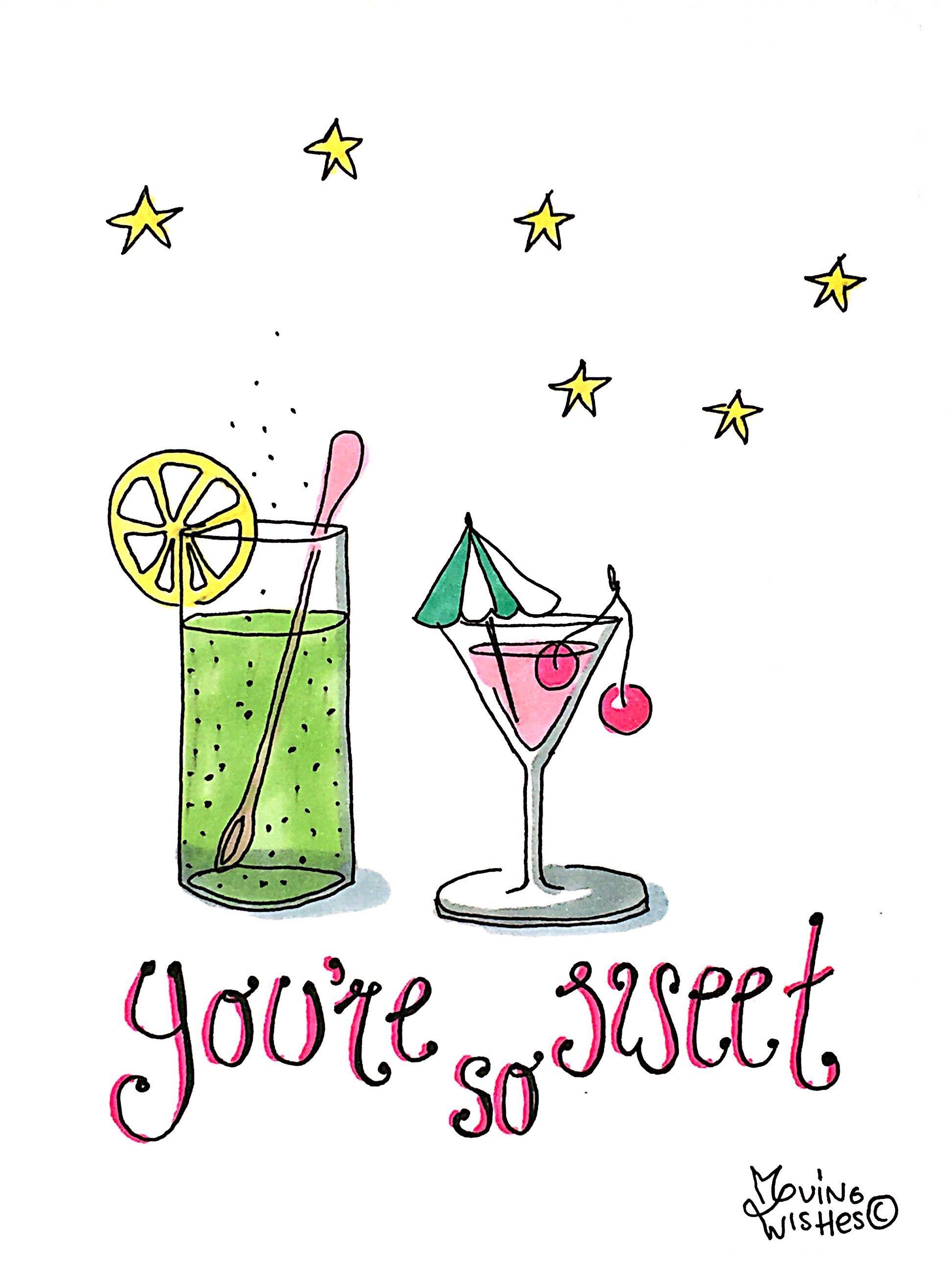 Wenskaart cocktails. onder sterren