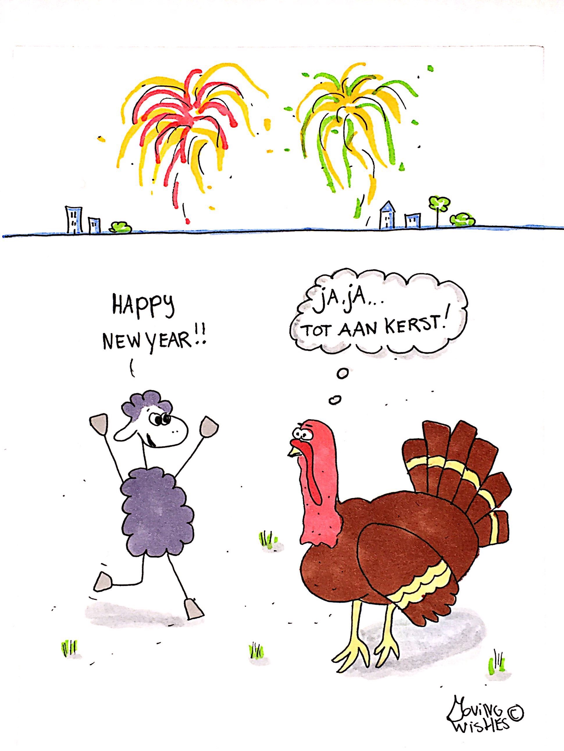 Nieuwjaarskaart schaap met kalkoen.