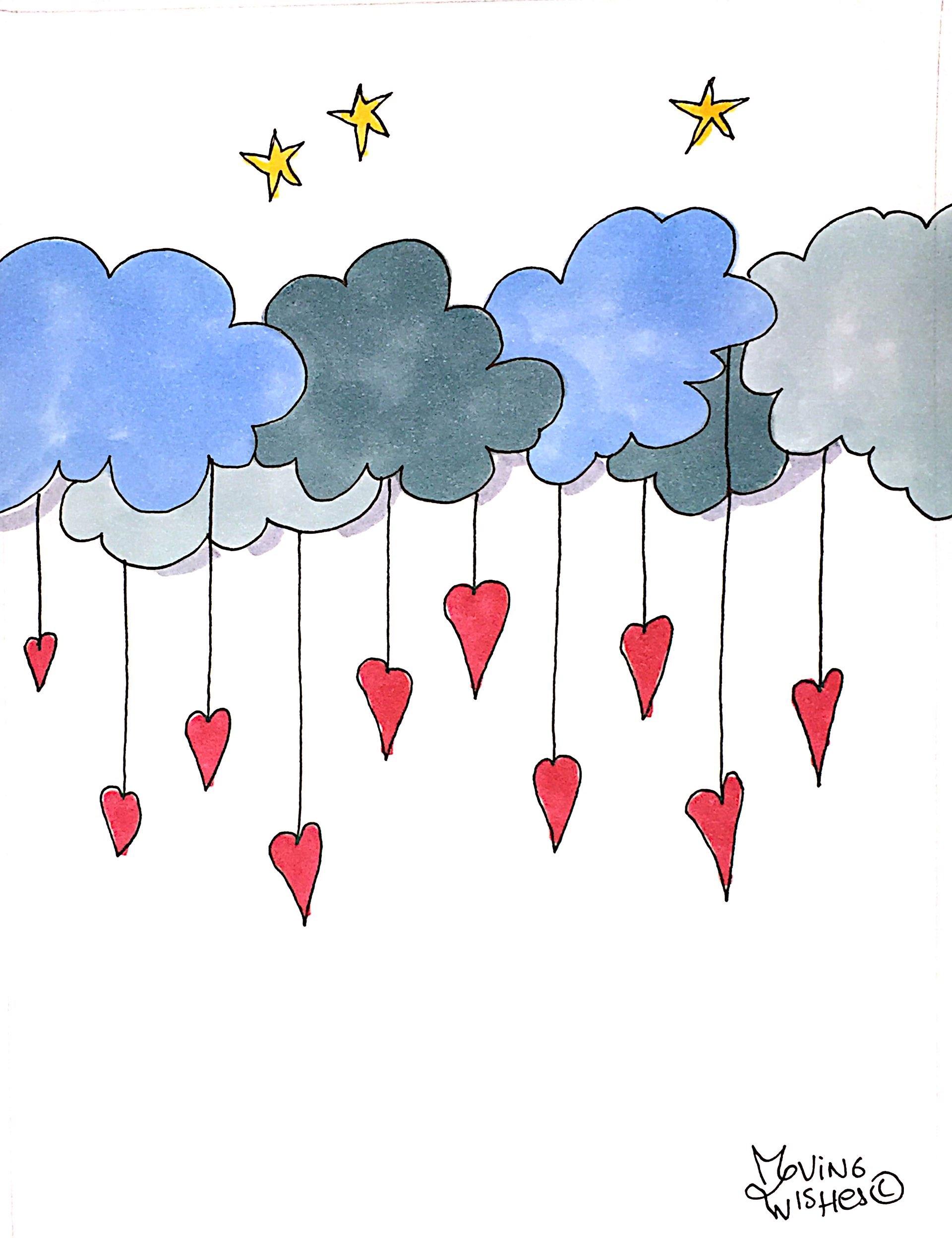 Wenskaart hartjes en wolken