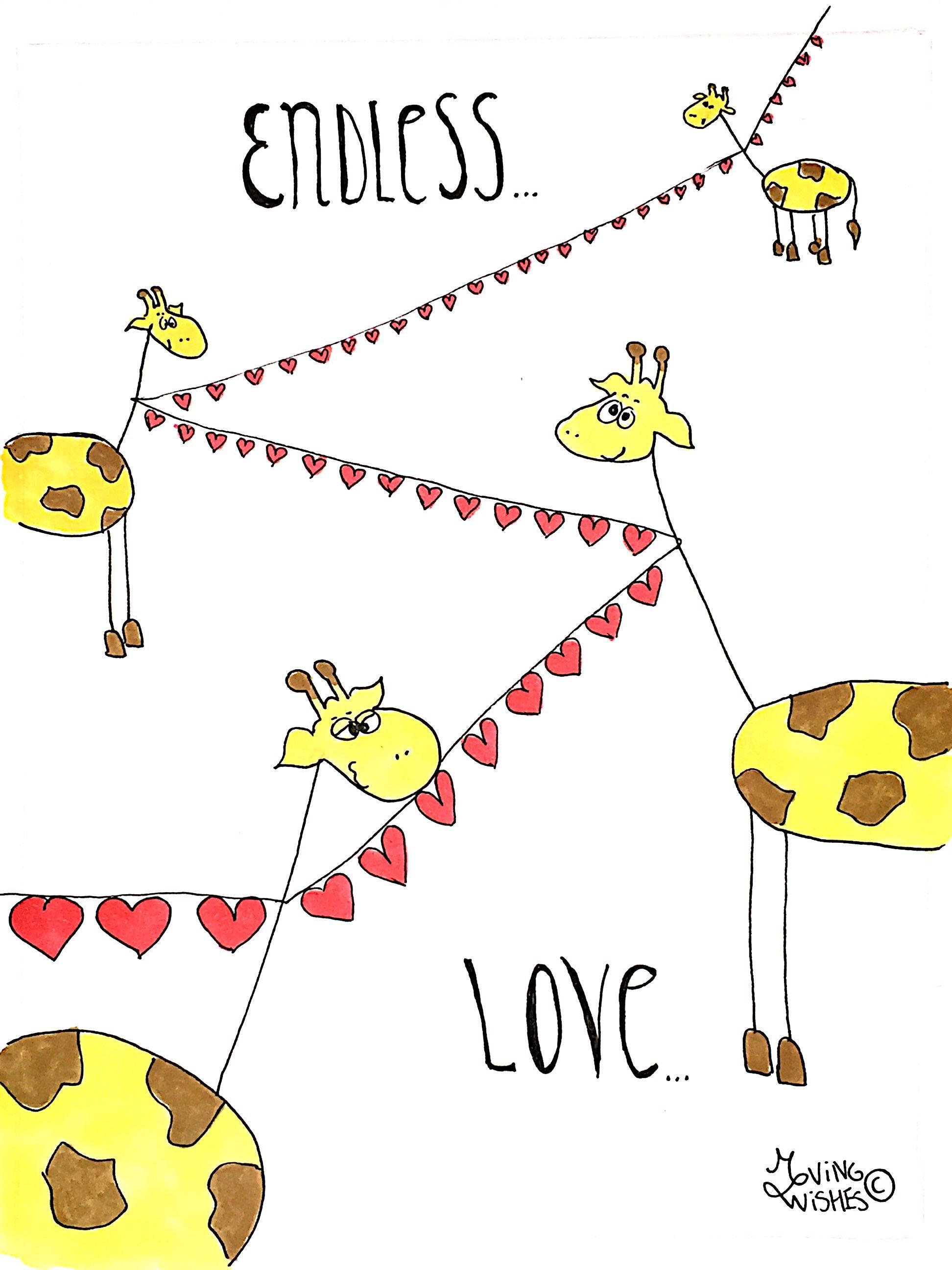 Wenskaart giraffen met harten
