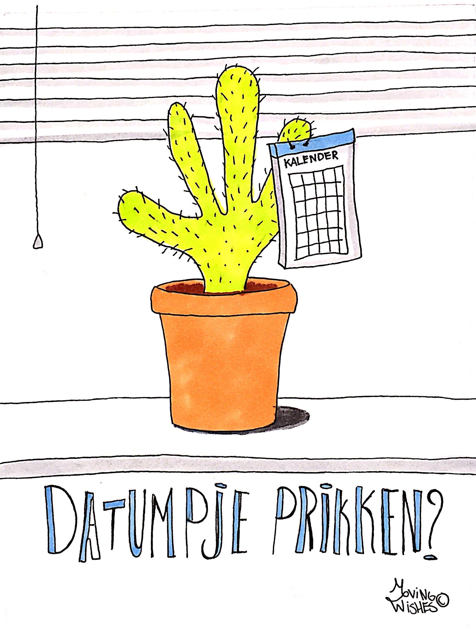 Wenskaart agenda aan cactus.