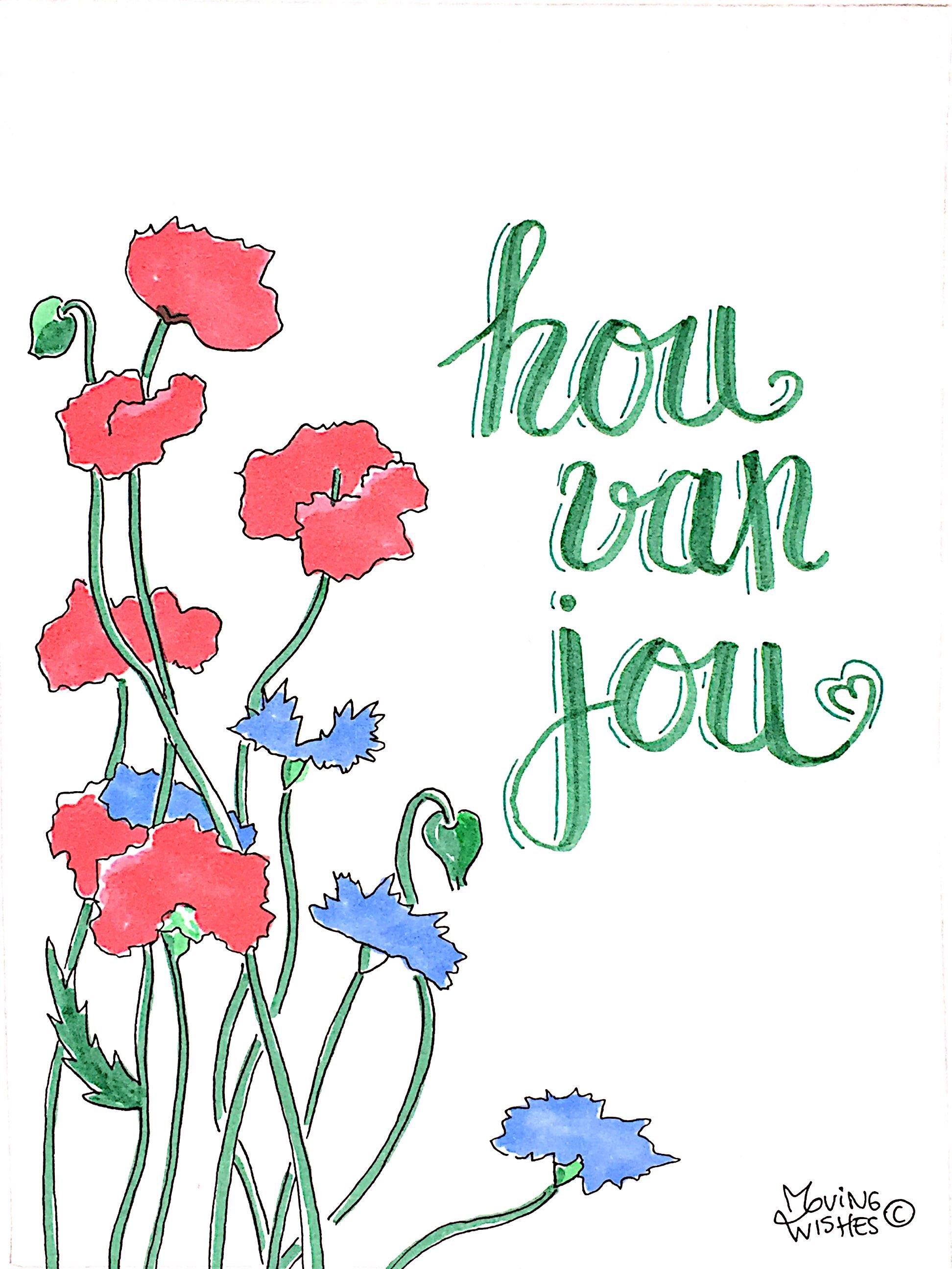 Wenskaart liefde met bloemen.