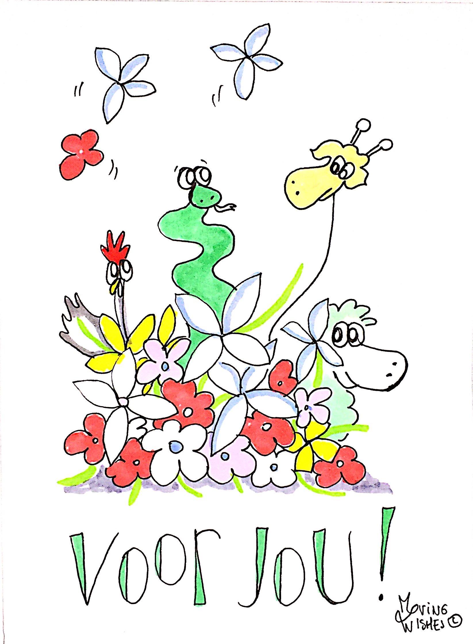 Wenskaart bloemen en dieren.