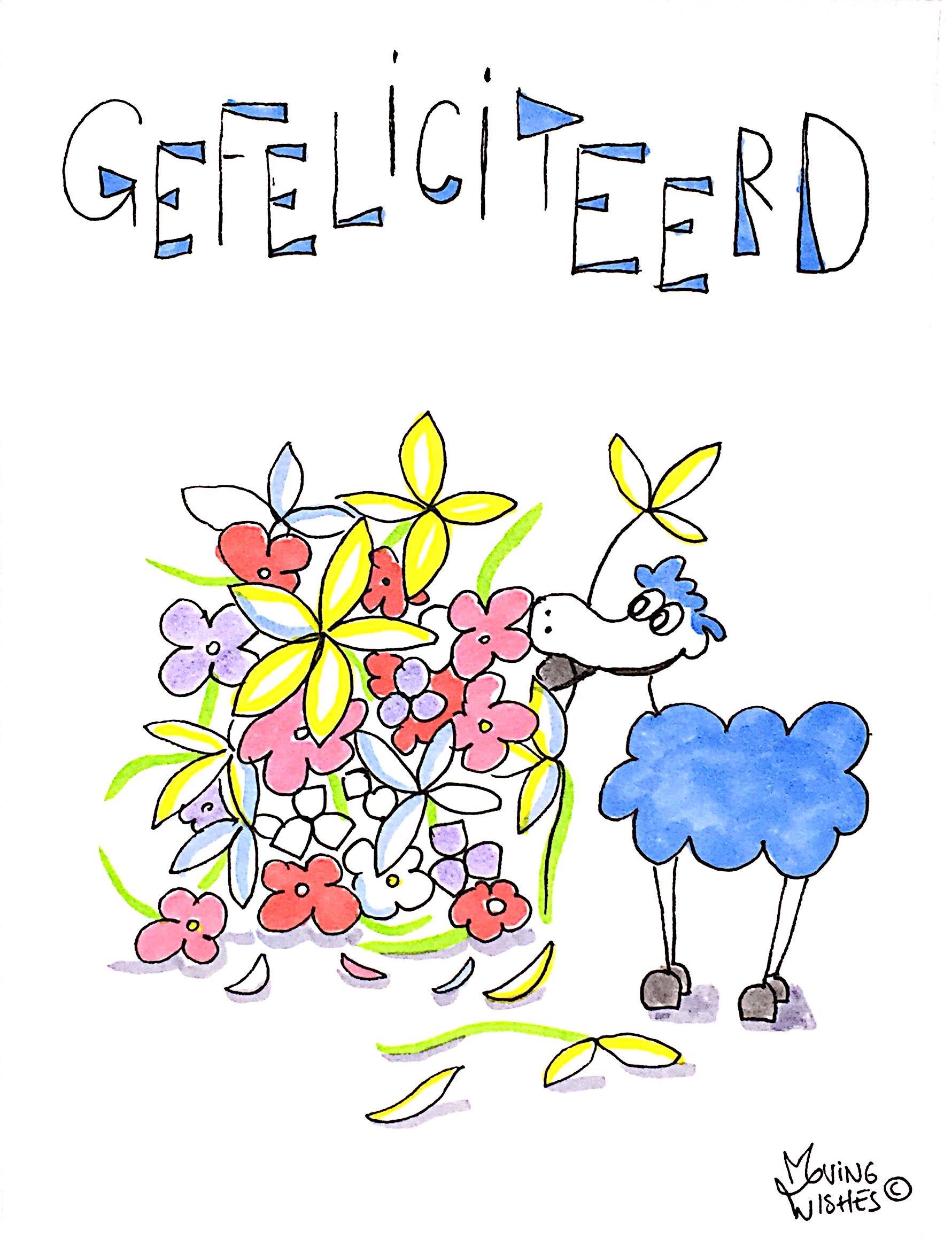Wenskaart schaap eet bloemen.