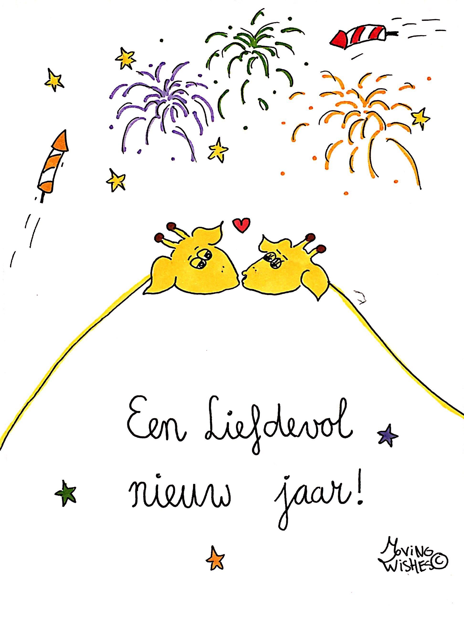 Nieuwjaarskaart liefhebbende giraffen.