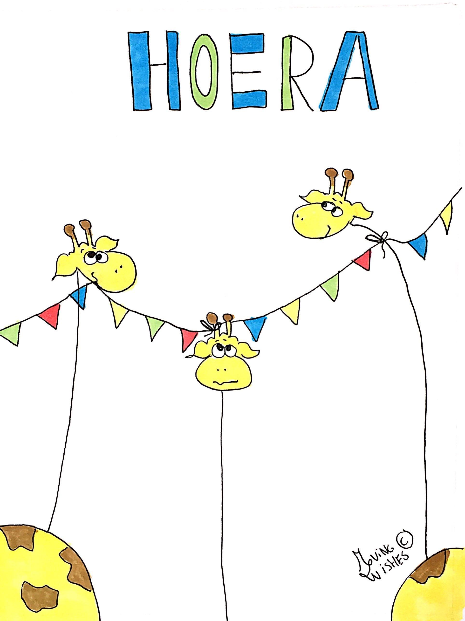 Verjaardagskaart 3 giraffen Hoera