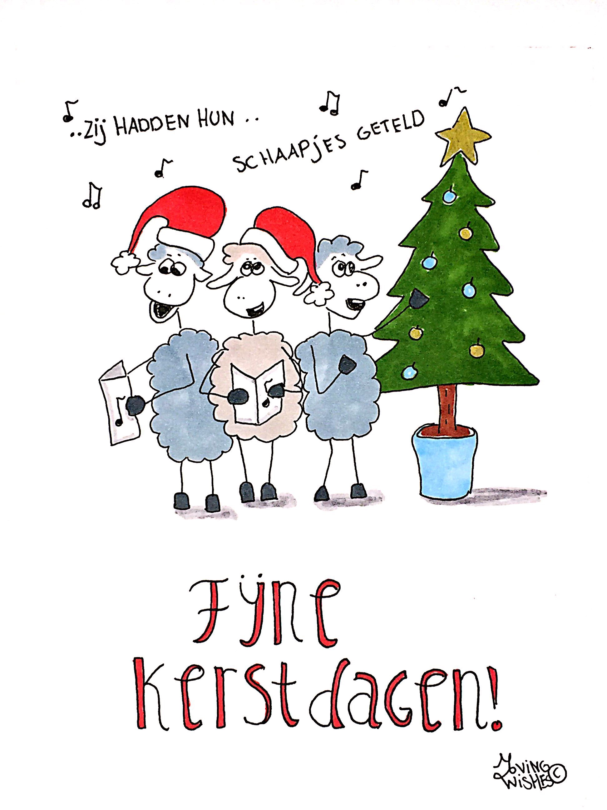 Kerstkaart zingende schaapjes.