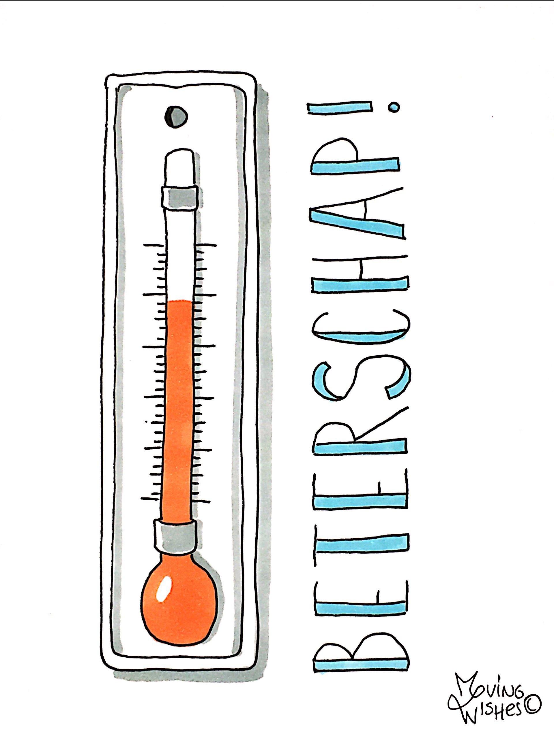 Wenskaart met thermometer.