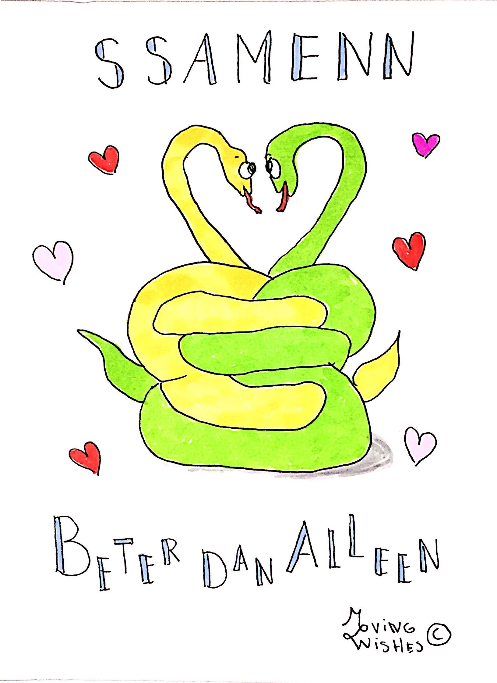 Wenskaart twee slangen zijn samen.