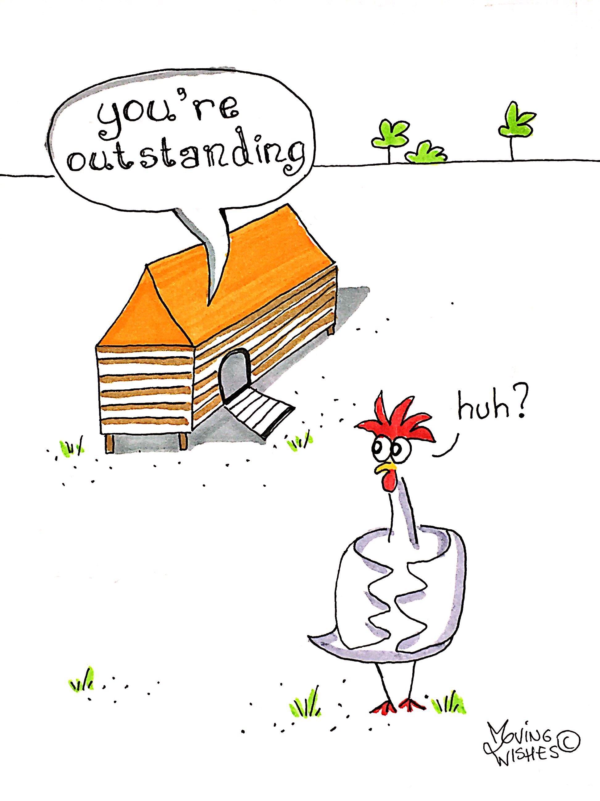 Wenskaart met een bijzondere kip.