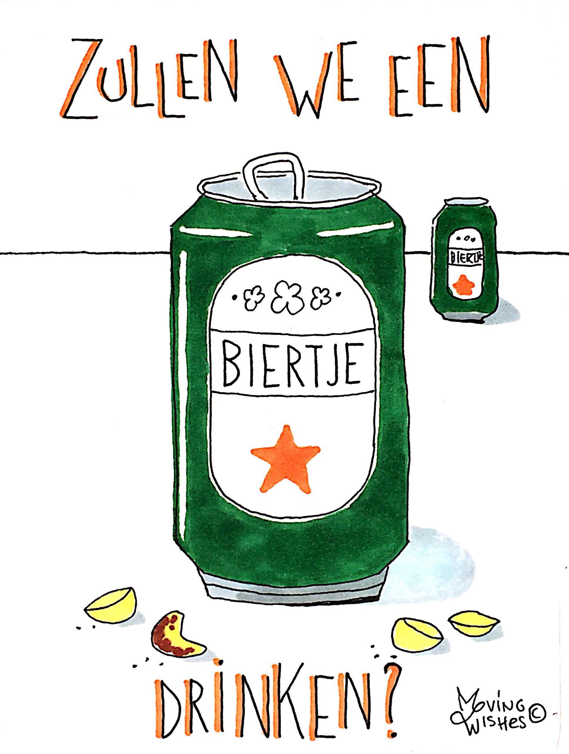 Wenskaart biertje drinken?