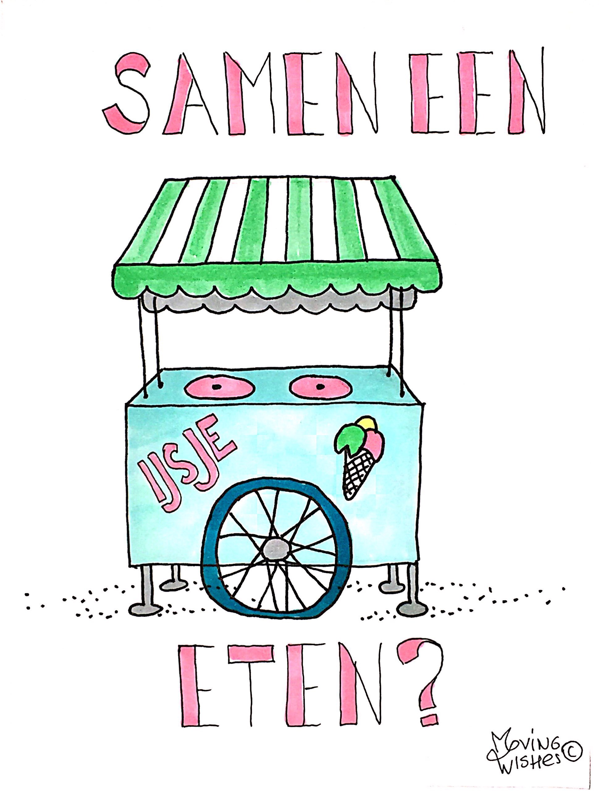 Wenskaart ijsje eten?