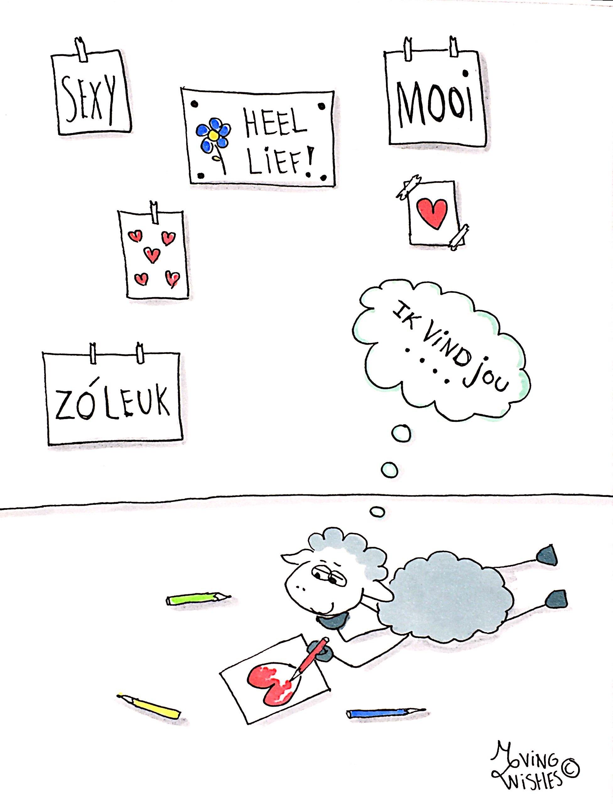 Wenskaart schaap tekent hart.