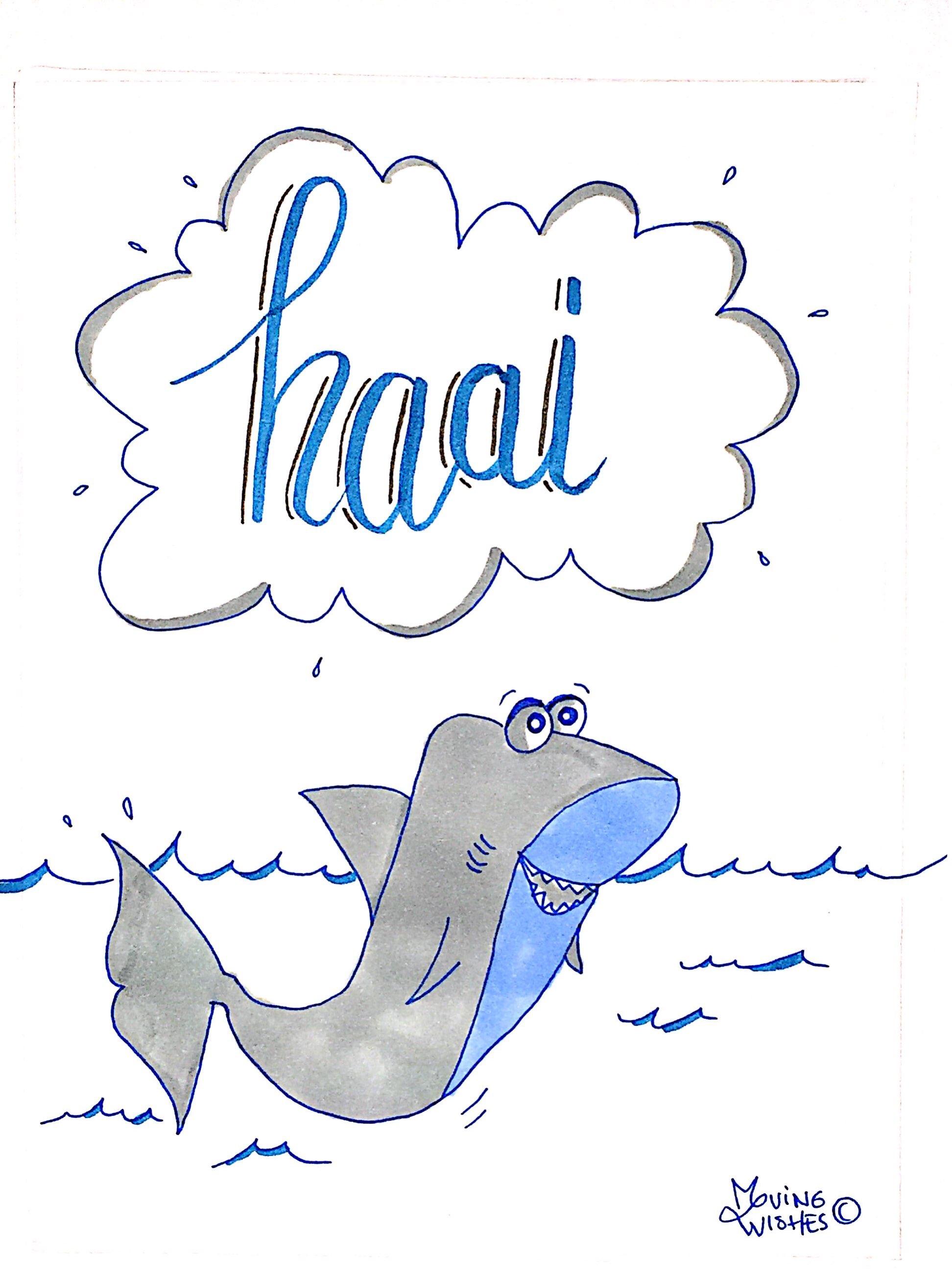 Wenskaart met haai.