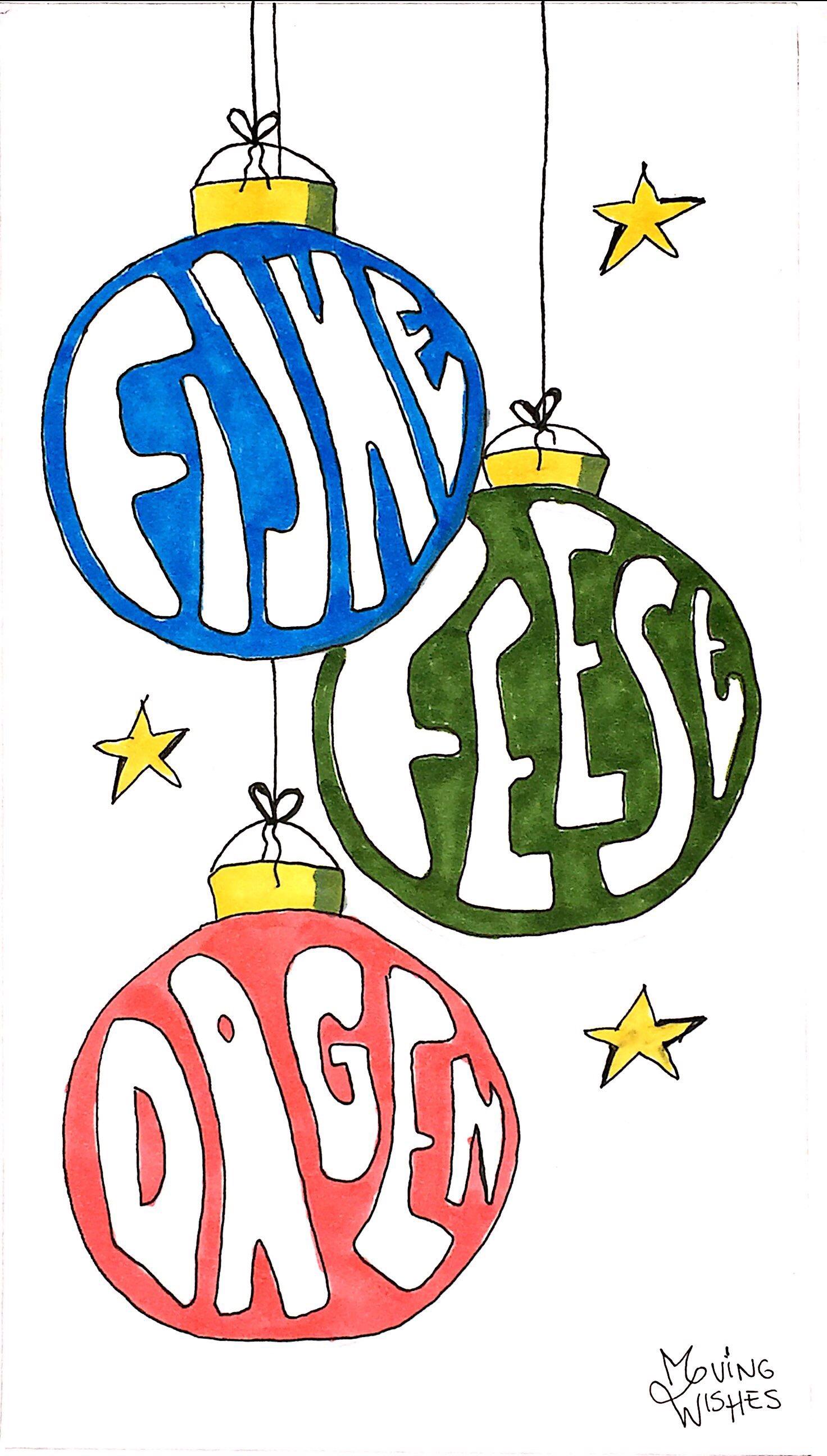 Wenskaart met kerstballen.