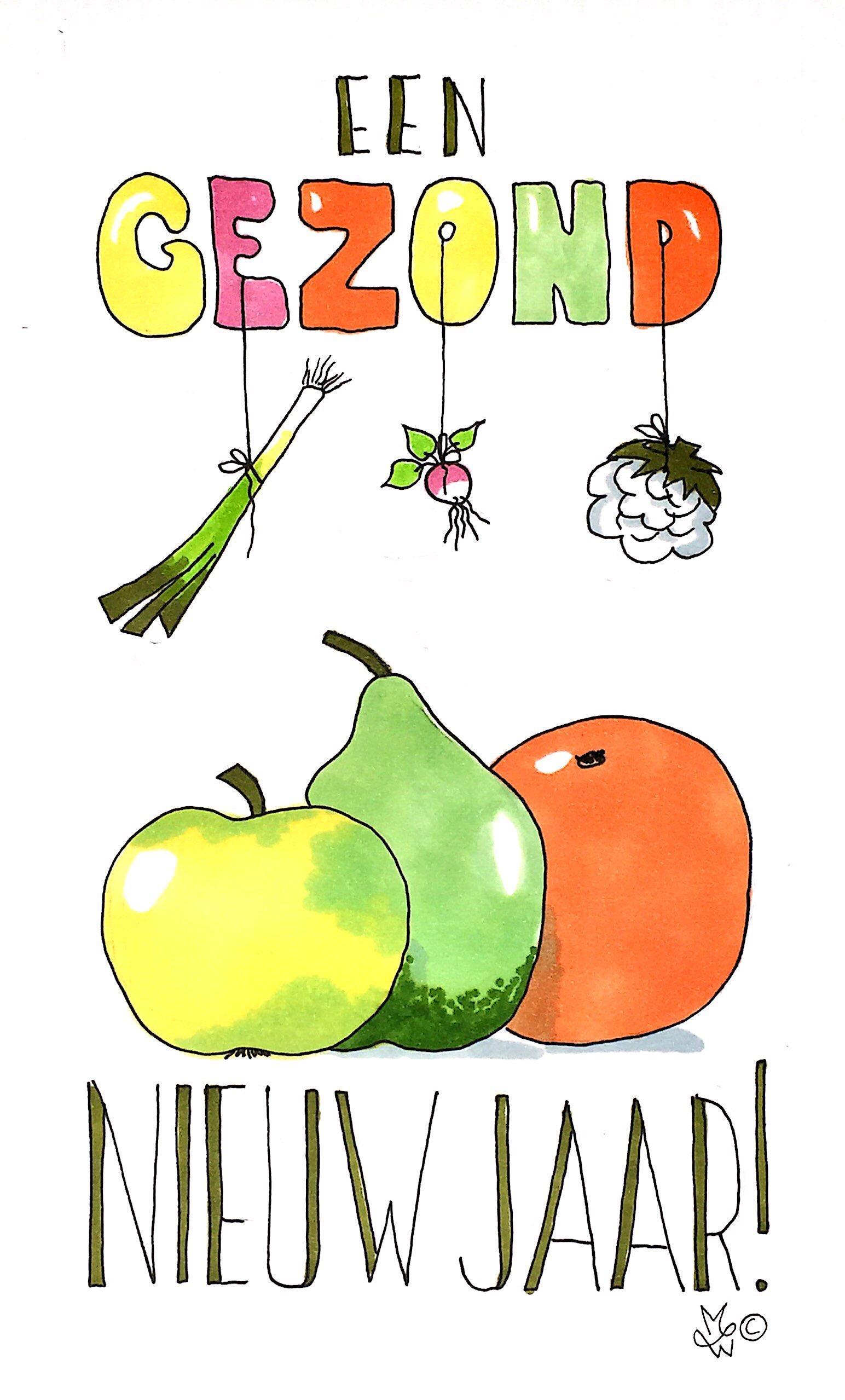 Nieuwjaarskaart groente en fruit.