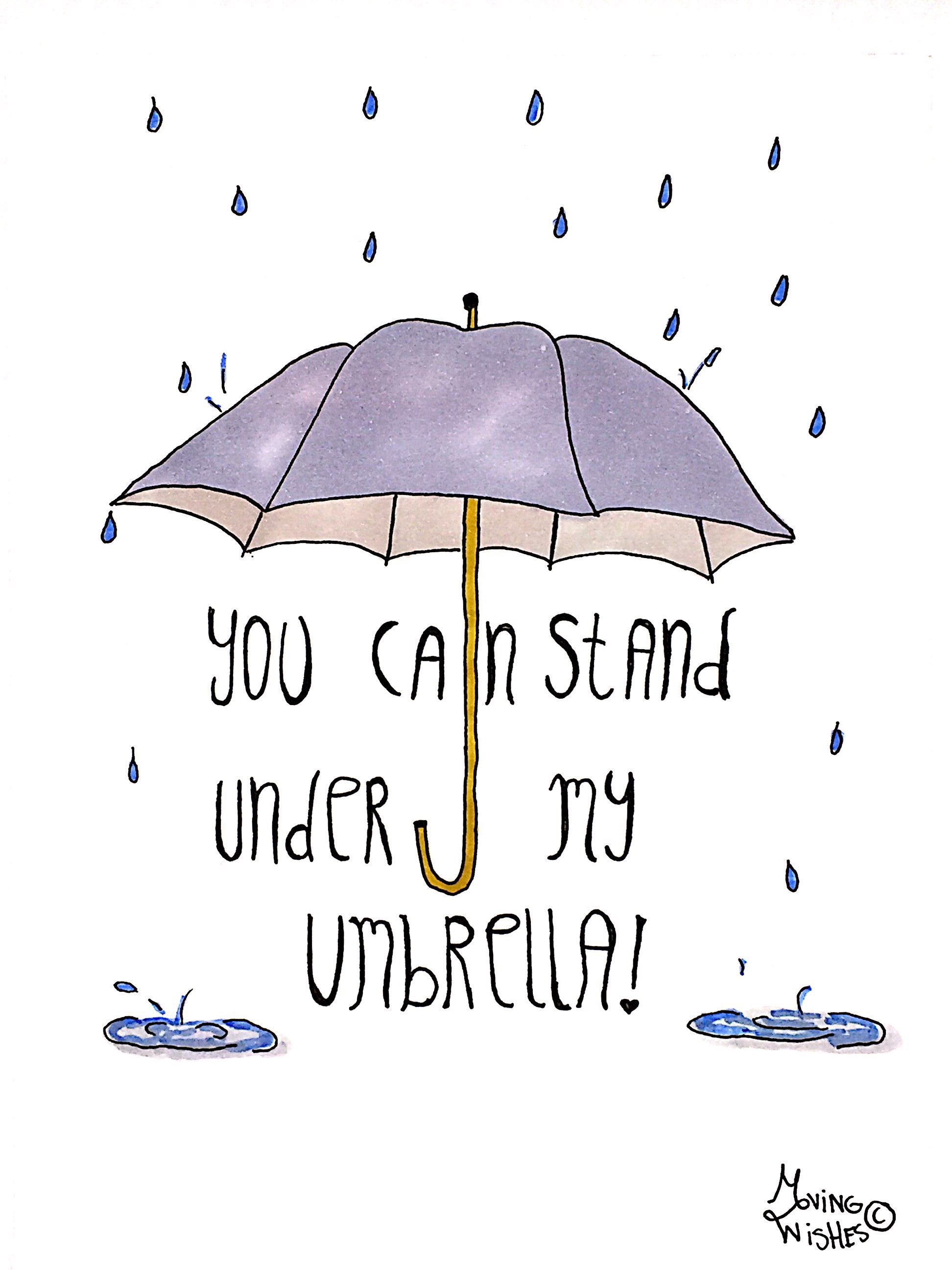 Wenskaart met paraplu