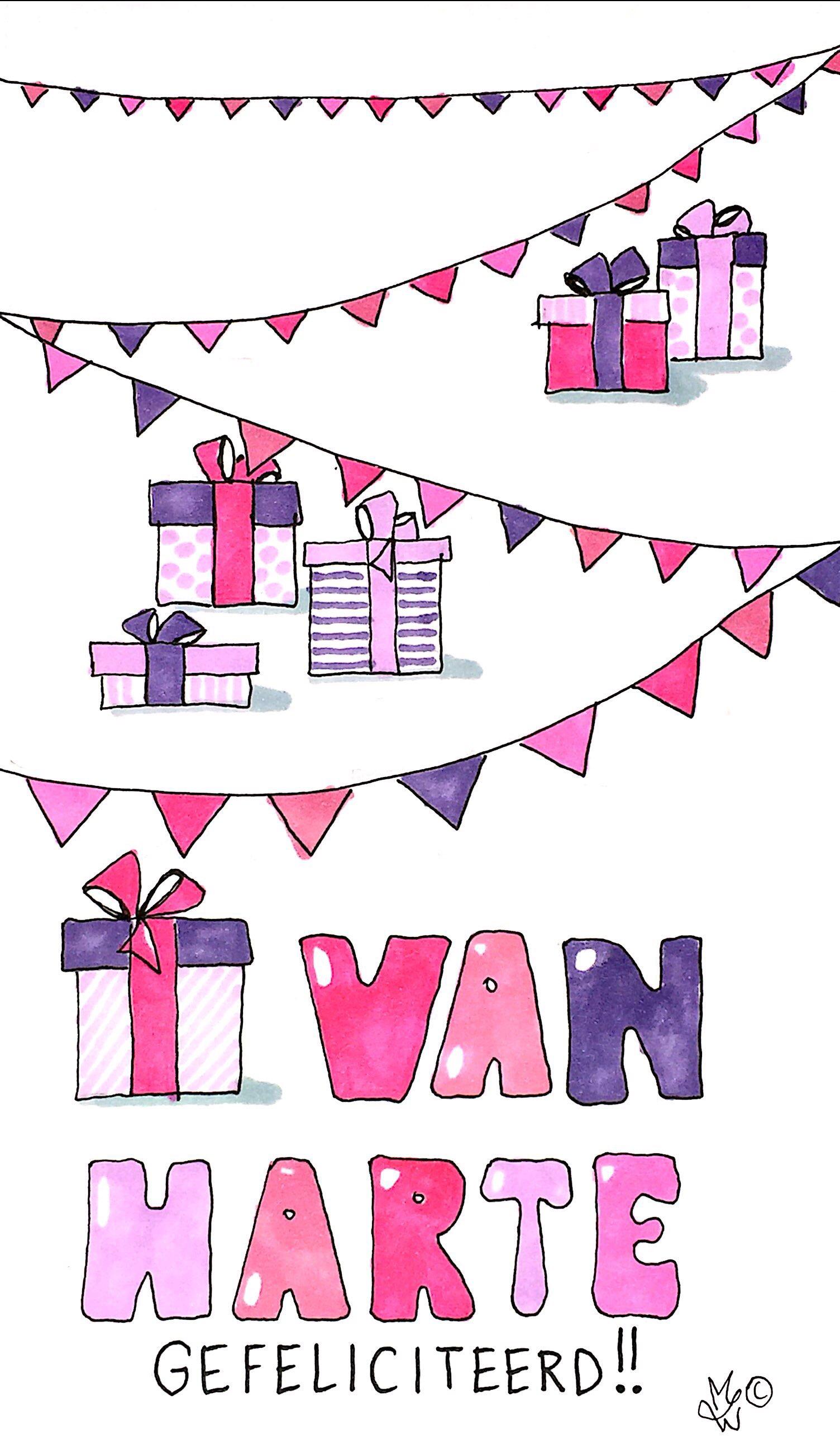 Verjaardagskaart roze cadeautjes.