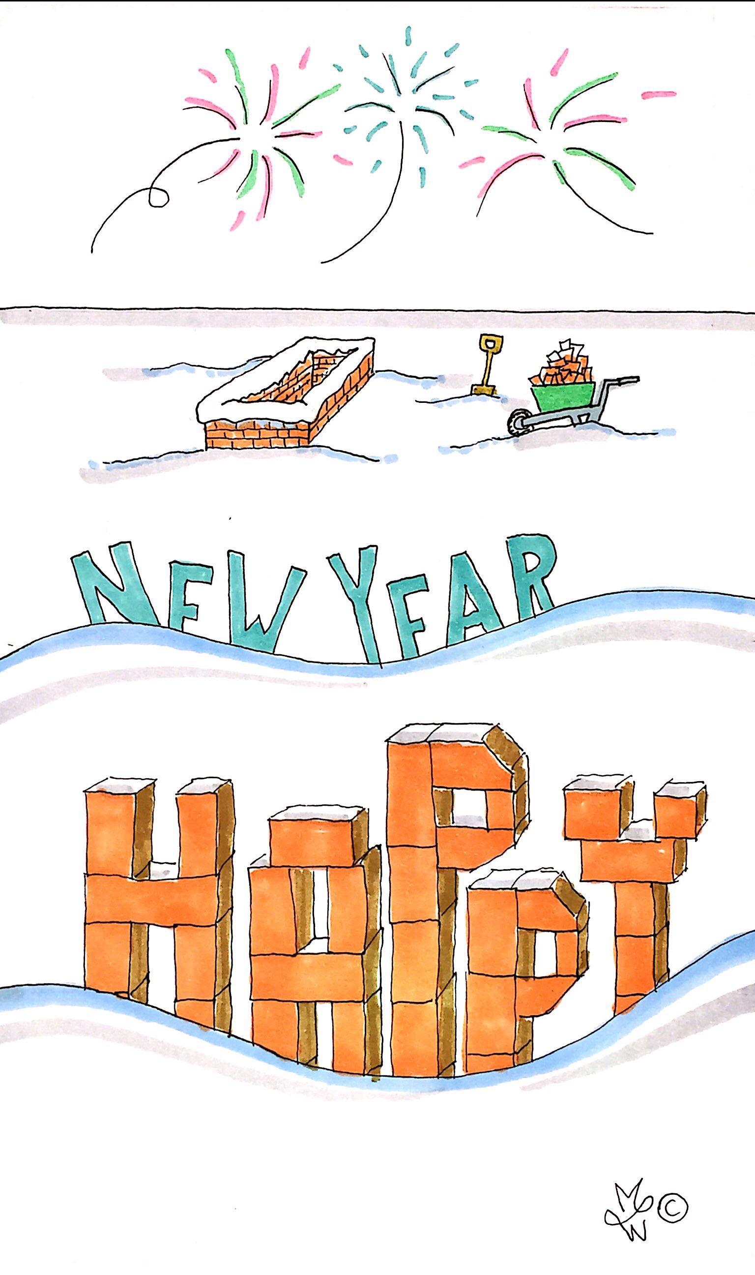 Nieuwjaarskaart bouwplaats